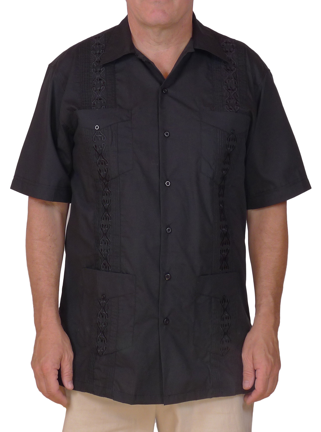 Image of Black Embroidered