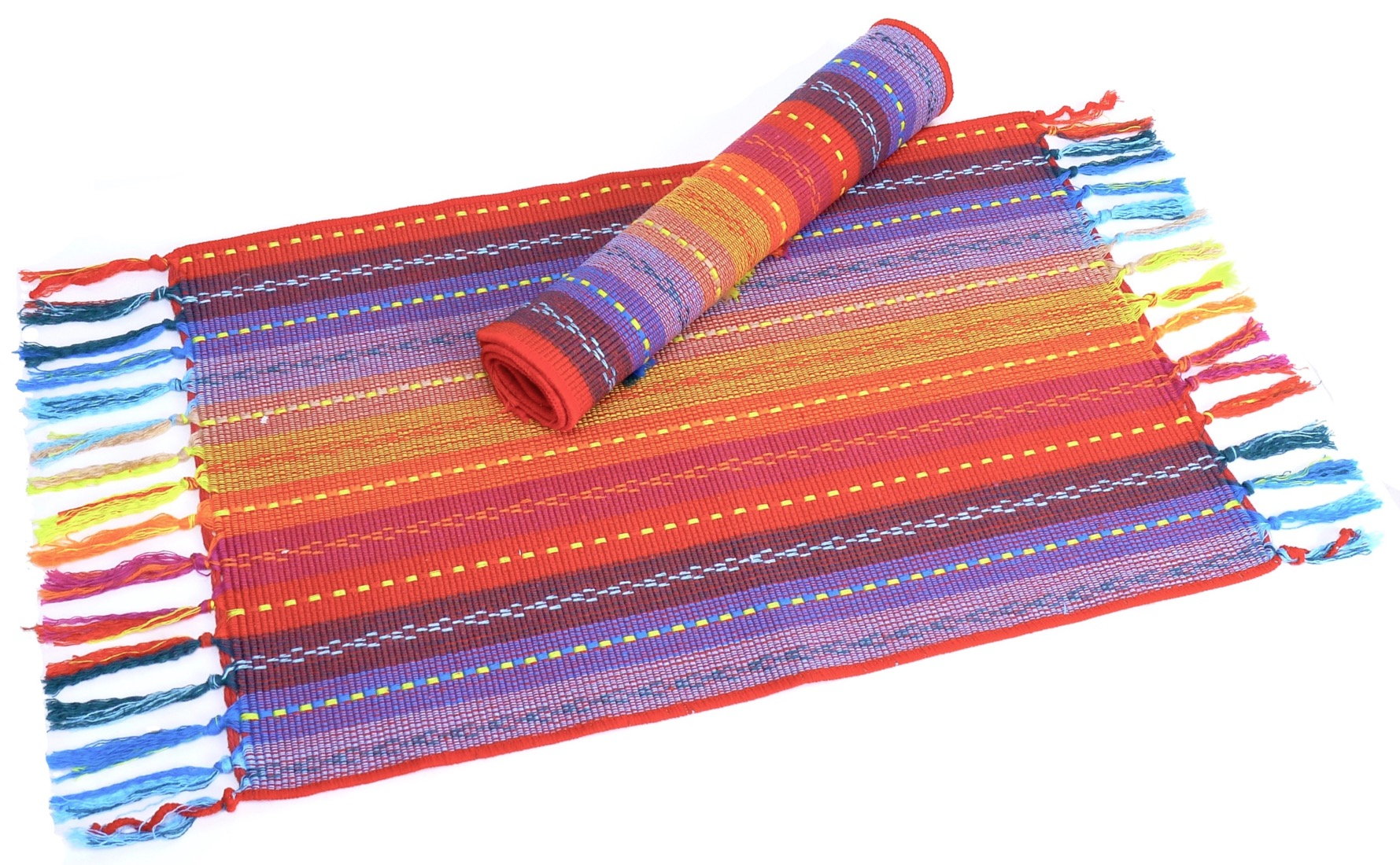 Image of Spiceberry Fiesta Cotton Placemats Red, Blue, Yellow Weave - Set of 4