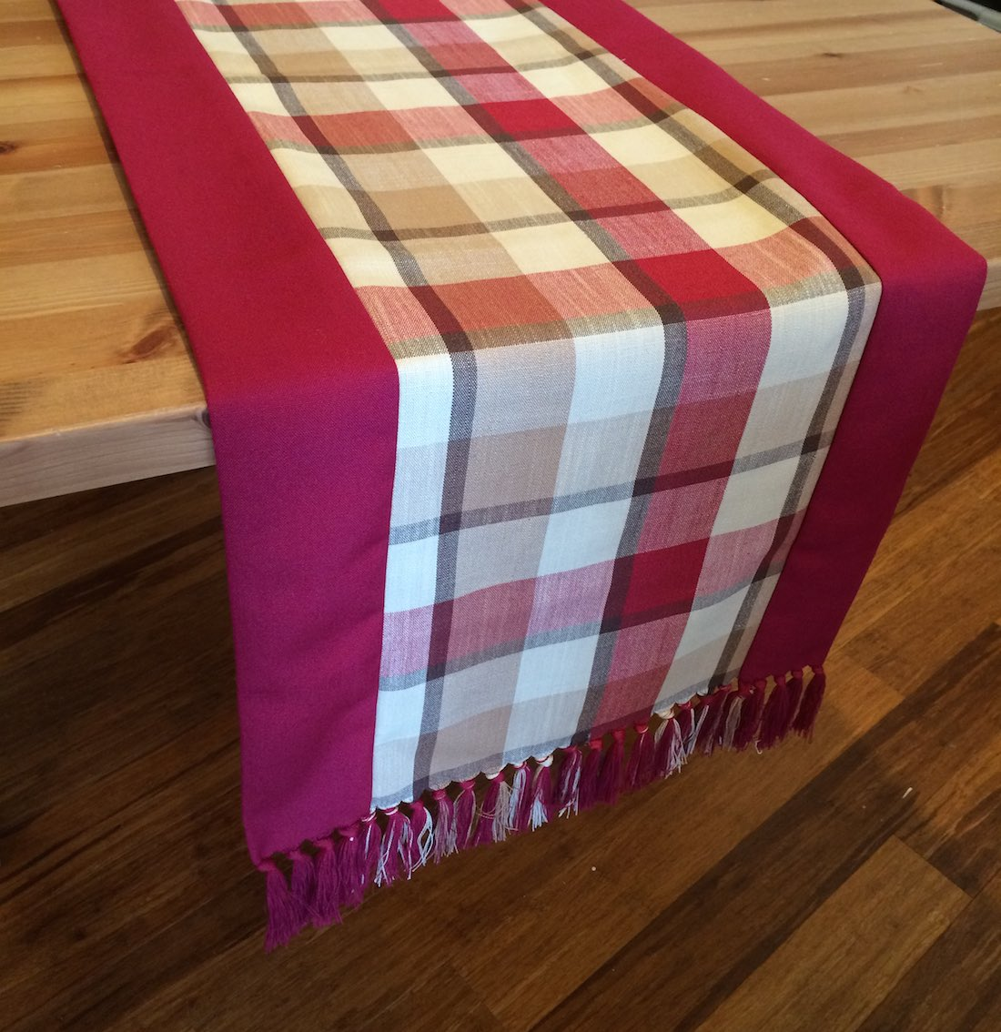 Image of Red Table Runner - Flax / Cotton