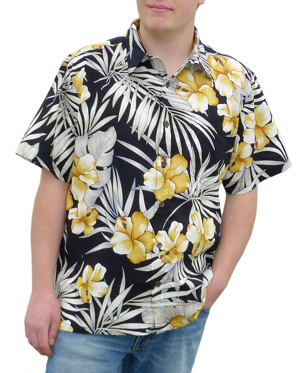 Hawaiian Shirt Black And Gold Floral Aloha Flower Design Small