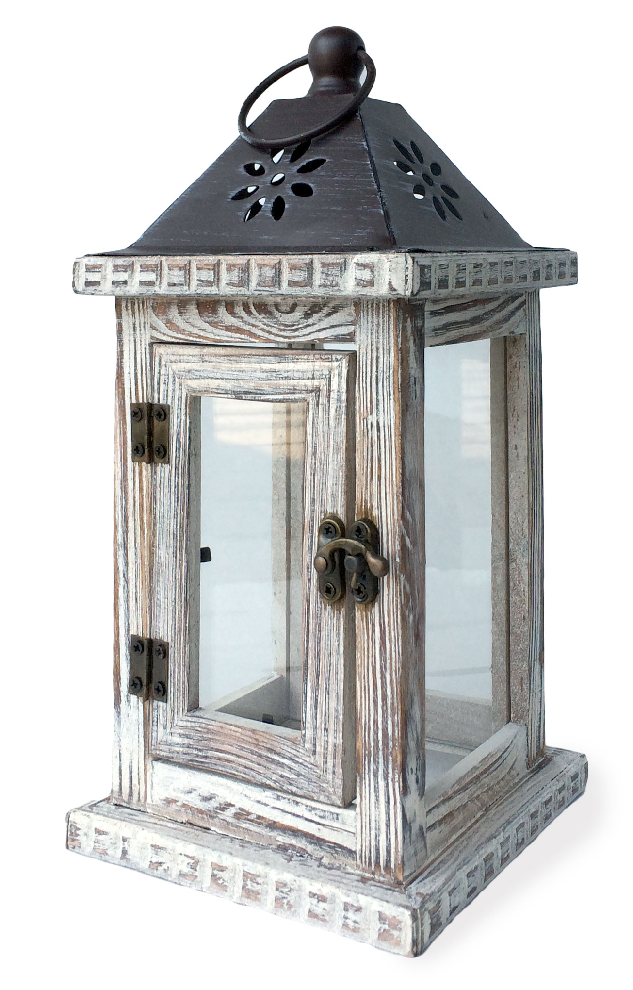 Image of Whitewash Monticello Candle Lantern 11-Inch