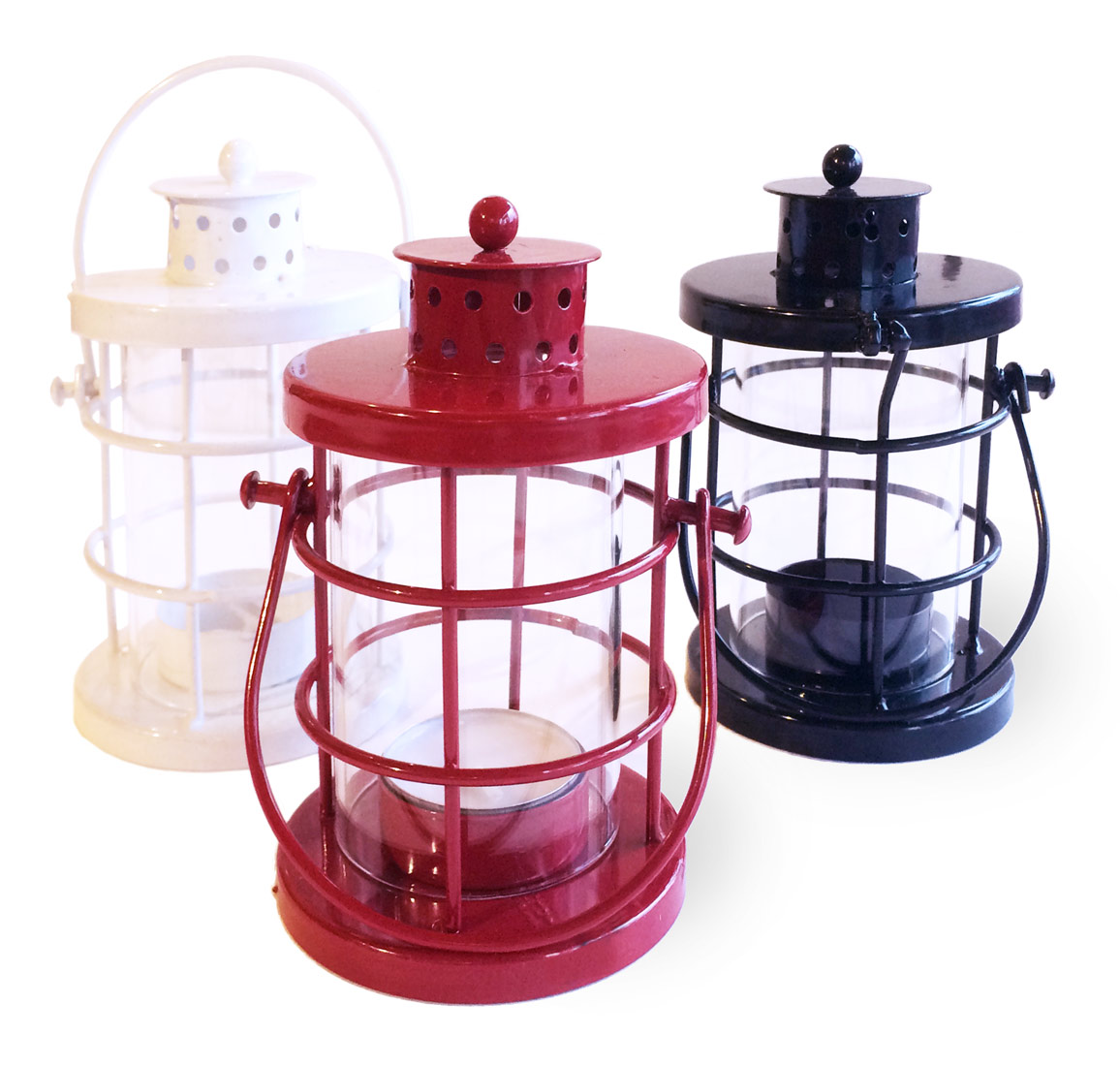 Image of Votive Lanterns, White Black and Red, Set of 3