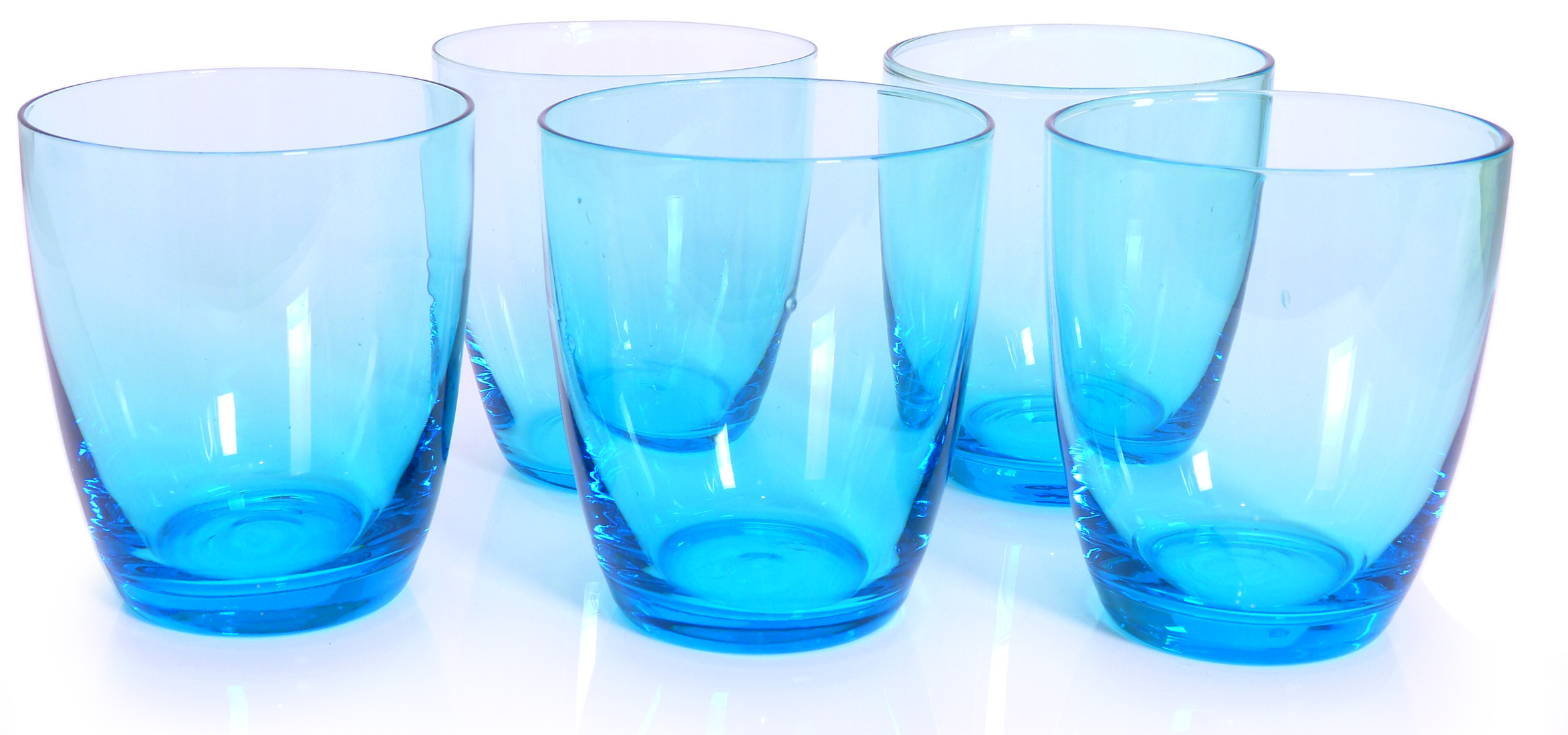 Image of 12-Oz Tumblers, Turquoise, Set of 6