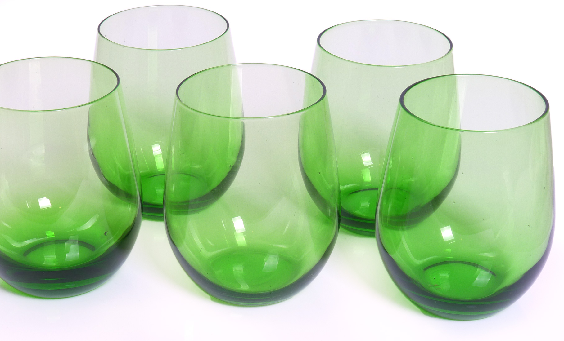 Image of Handcrafted Stemless Wine Glasses, 16-ounce, Green, Set of 6