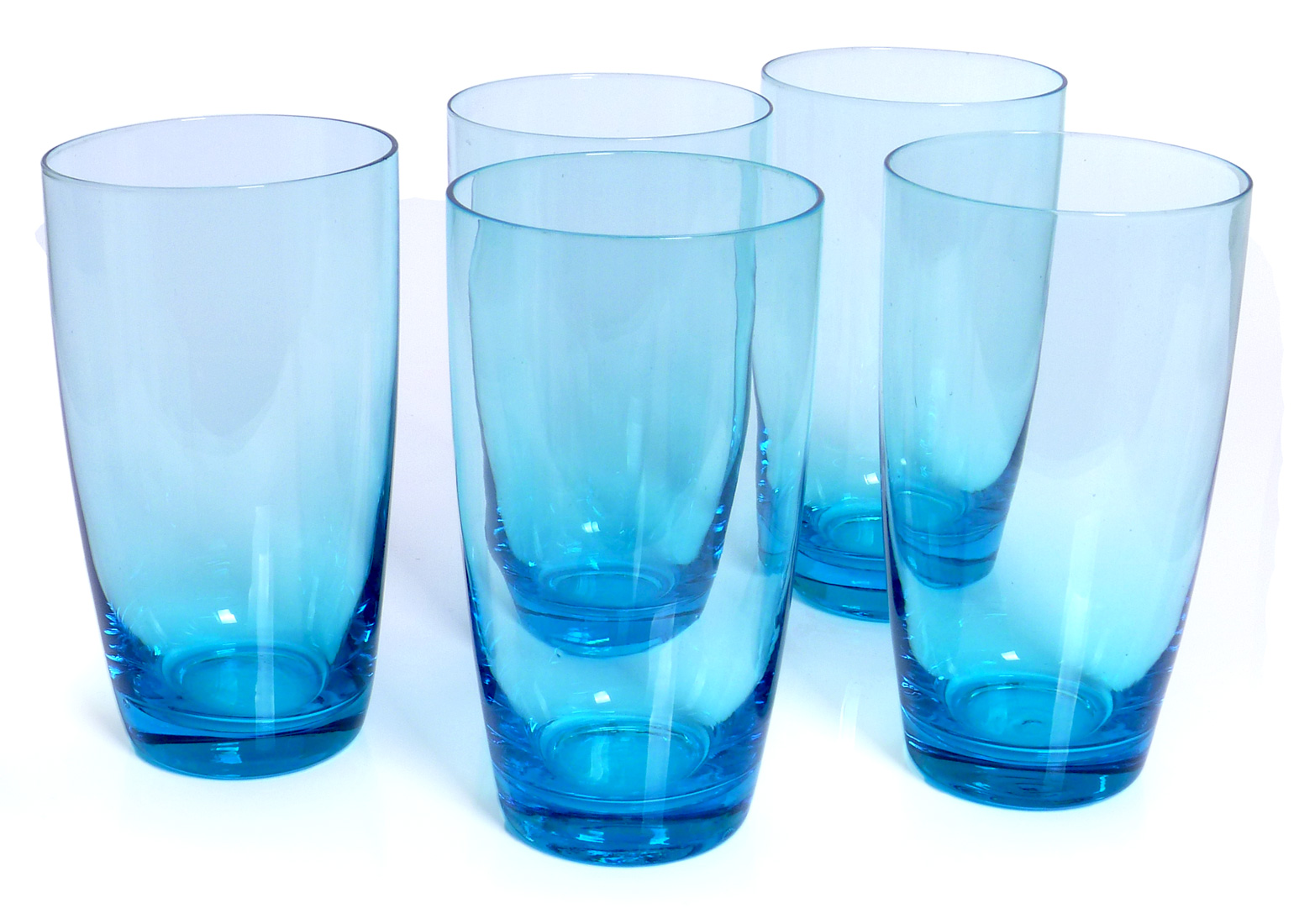 Image of Handcrafted Tall Glass Tumblers, 18-ounce, Turquoise, Set of 6