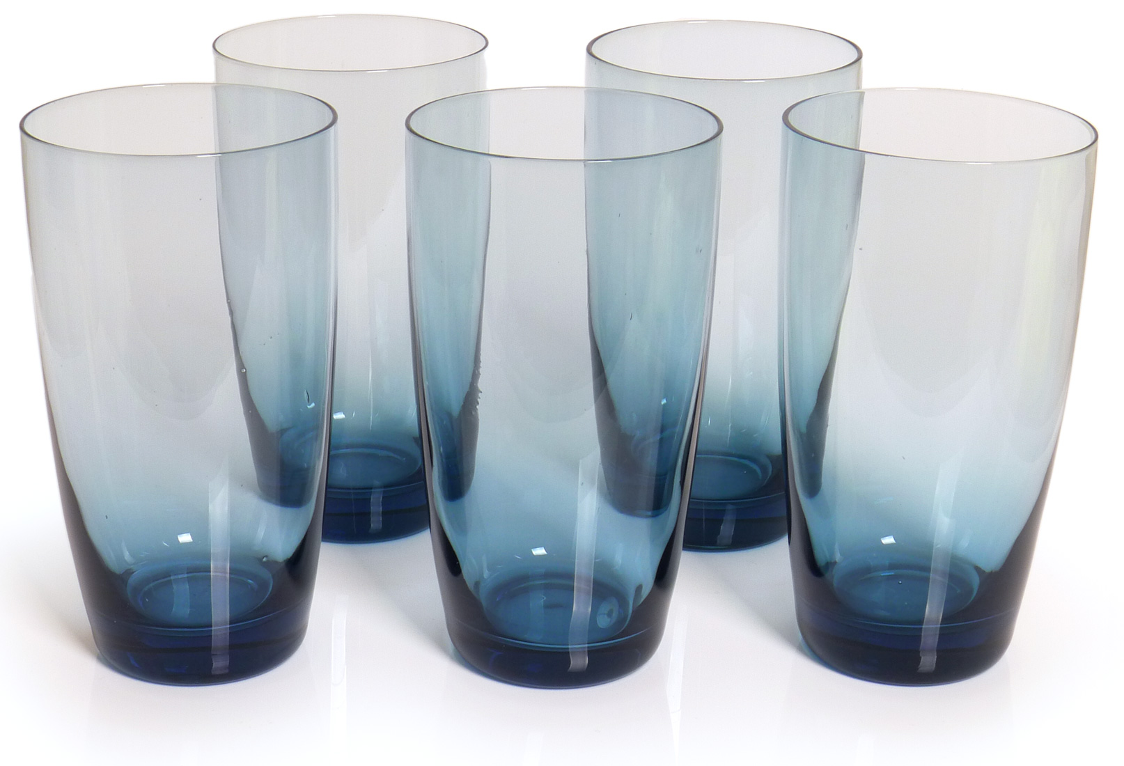 Image of Handcrafted Tall Glass Tumblers, 18-ounce, Blue, Set of 6