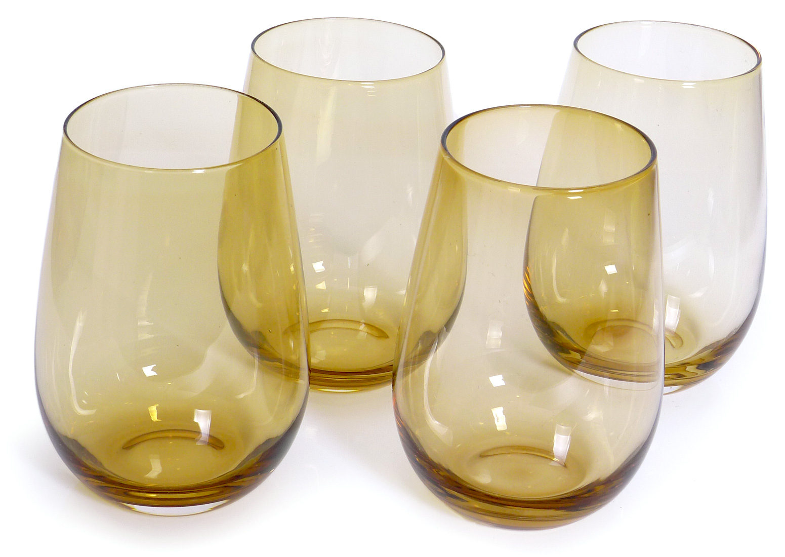 Image of Handcrafted Stemless Wine Glasses, 16-ounce, Golden Brown, Set of 6