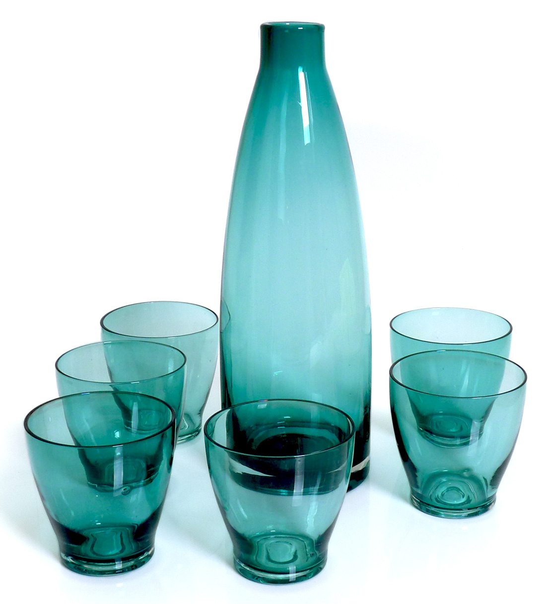 Image of Handblown Decanter Set with 6 Tumbler Glasses, Blue