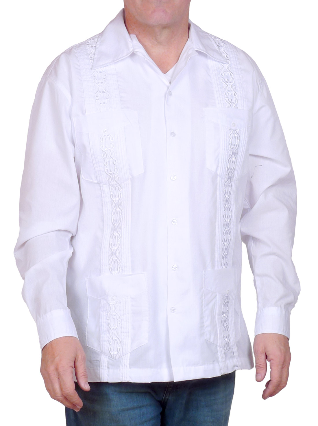 Image of White Embroidered Long Sleeve