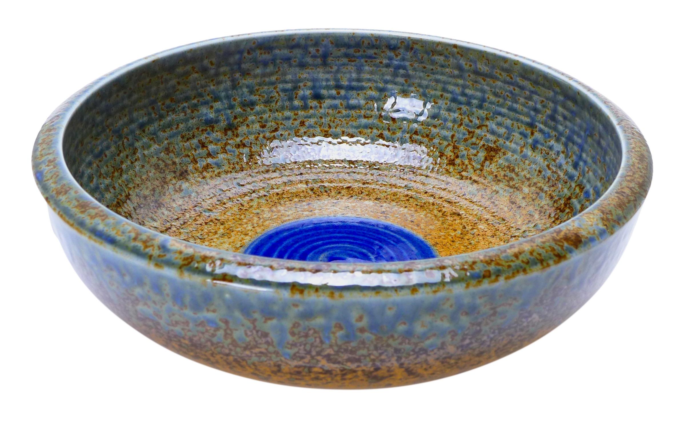 Image of Large Blue Stoneware Serving Bowl with Indigo Blue Dot, 9-1/2 Inch