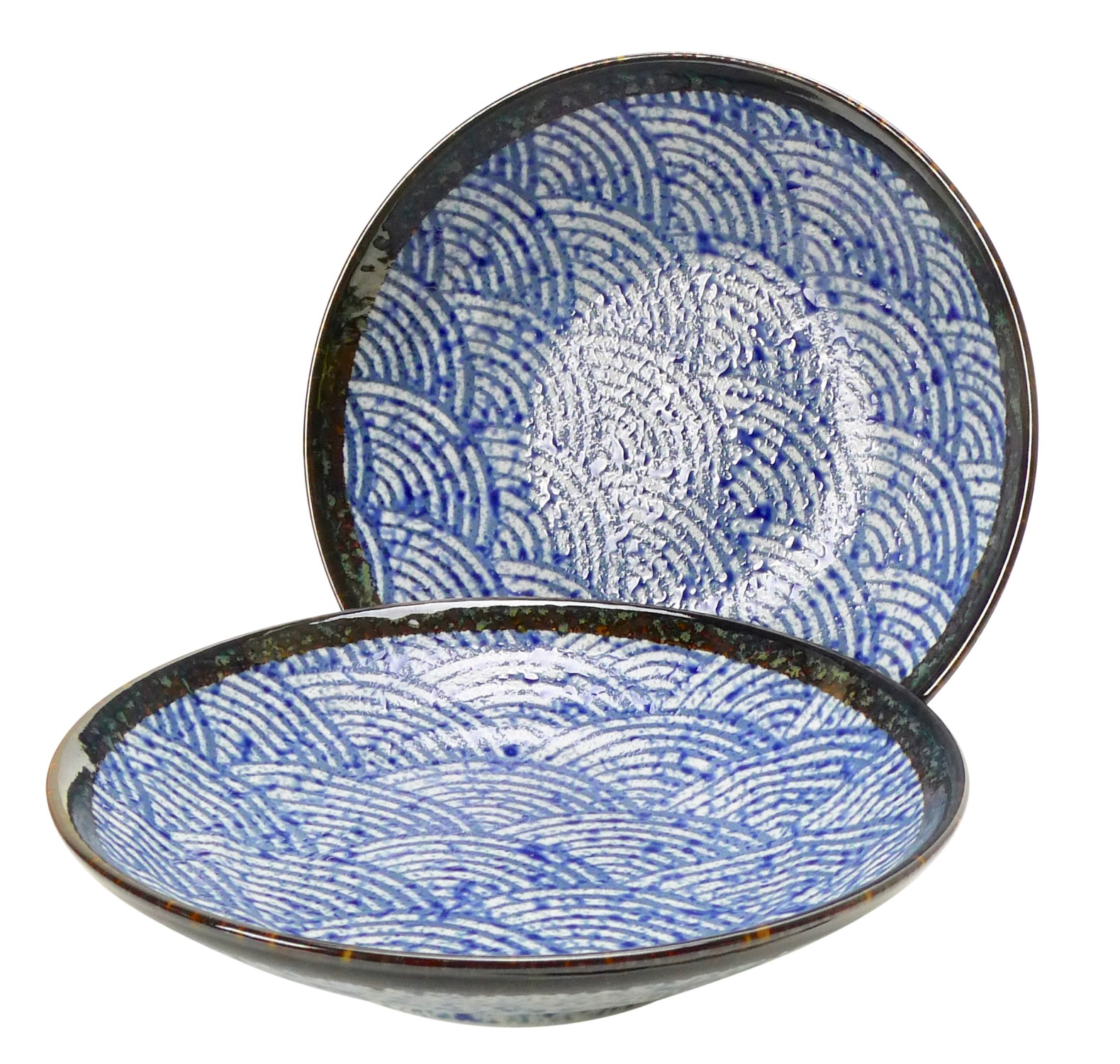 Image of Porcelain Shallow Serving Bowls / Noodle Plates with Blue Seigaiha Wave