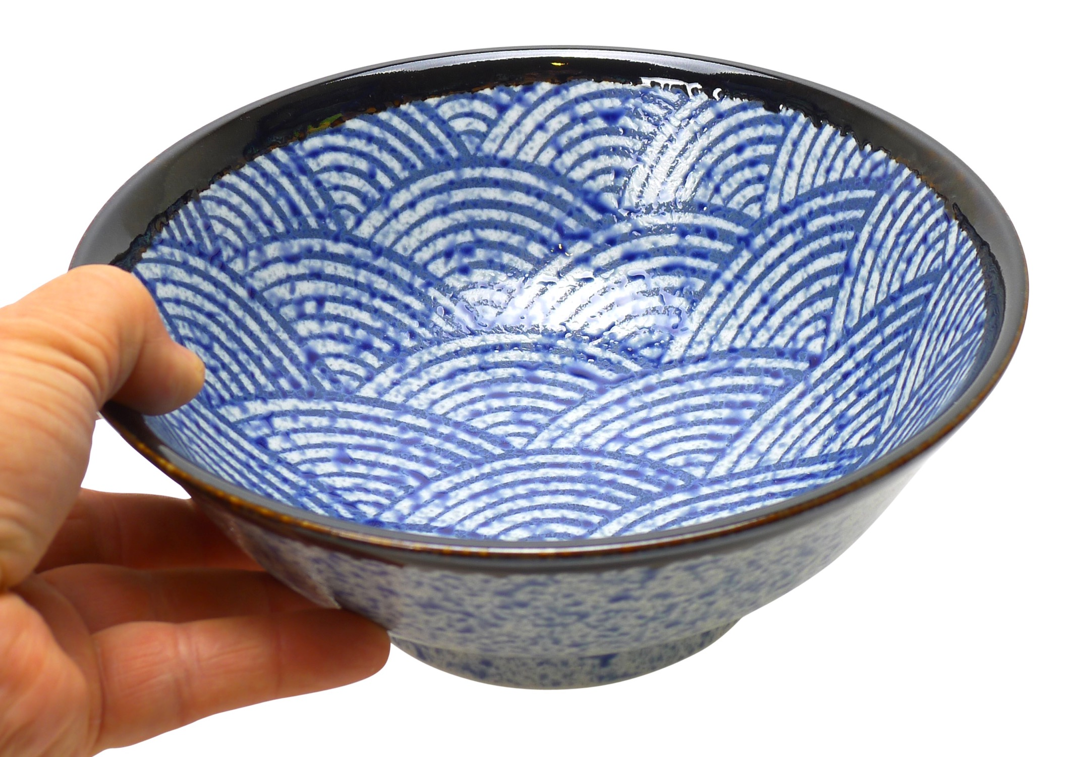Image of Porcelain Bowl with Blue Fan Design, 8.25-Inch, Set Of Two