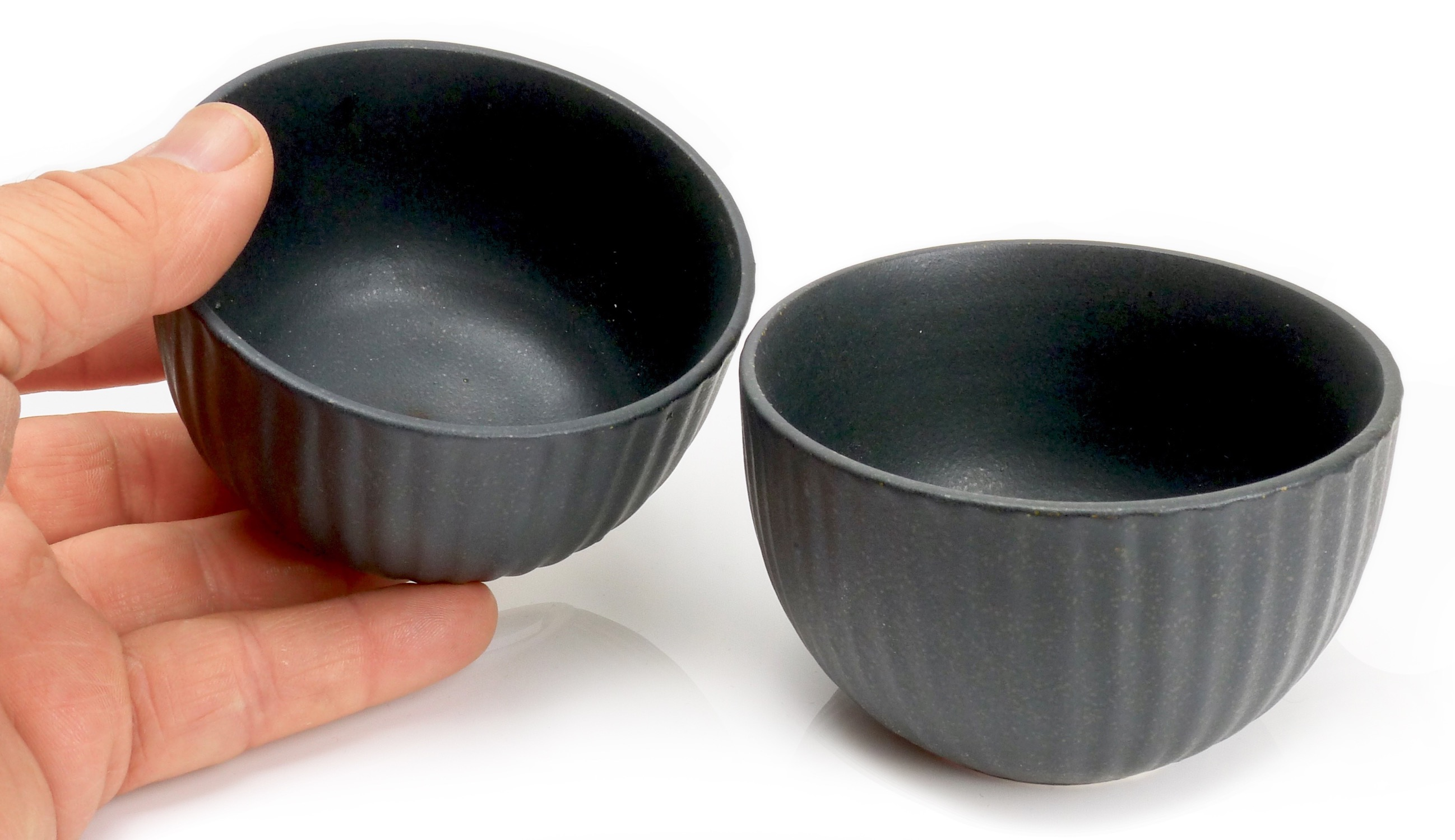 Image of Matte Black Stoneware Shochu Cups / Mini Bowls 4-Inch, Set Of Two