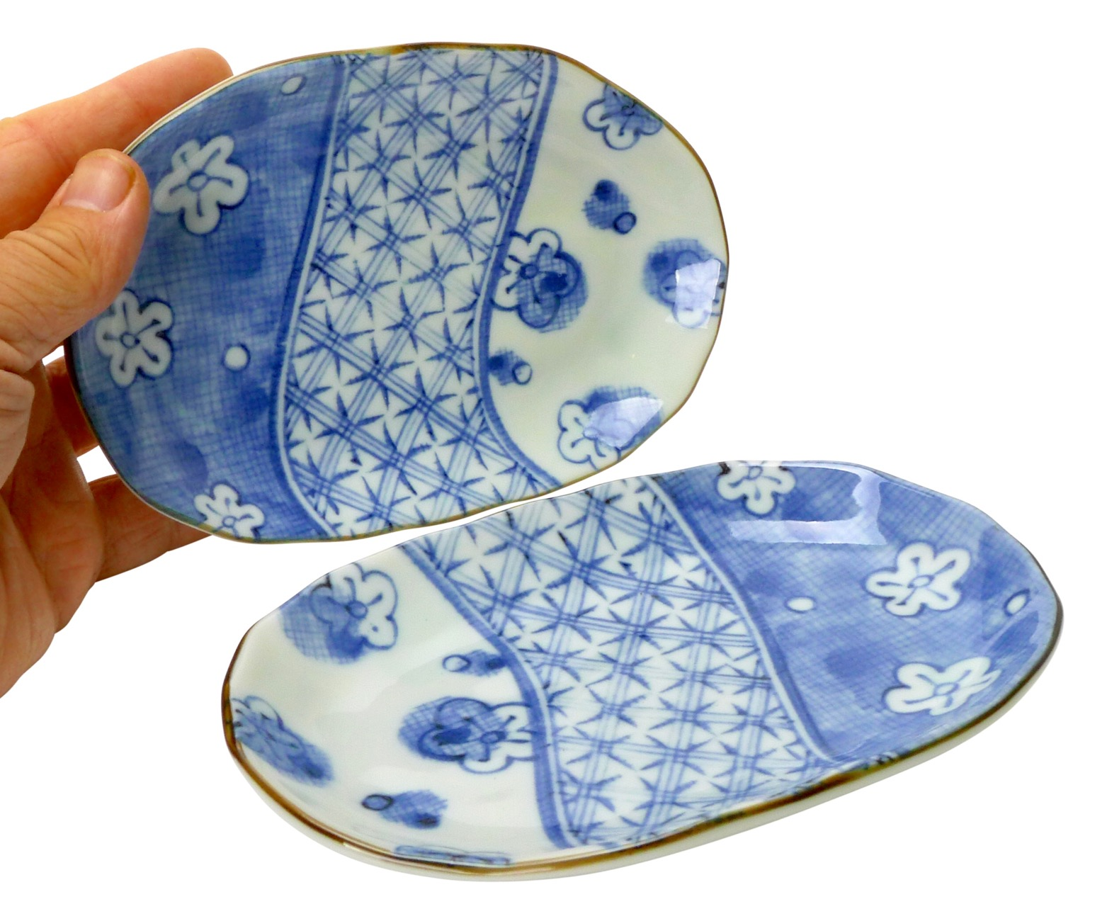 Image of Handmade Porcelain Appetizer Plate, 6.75x4-Inch, Set of 4