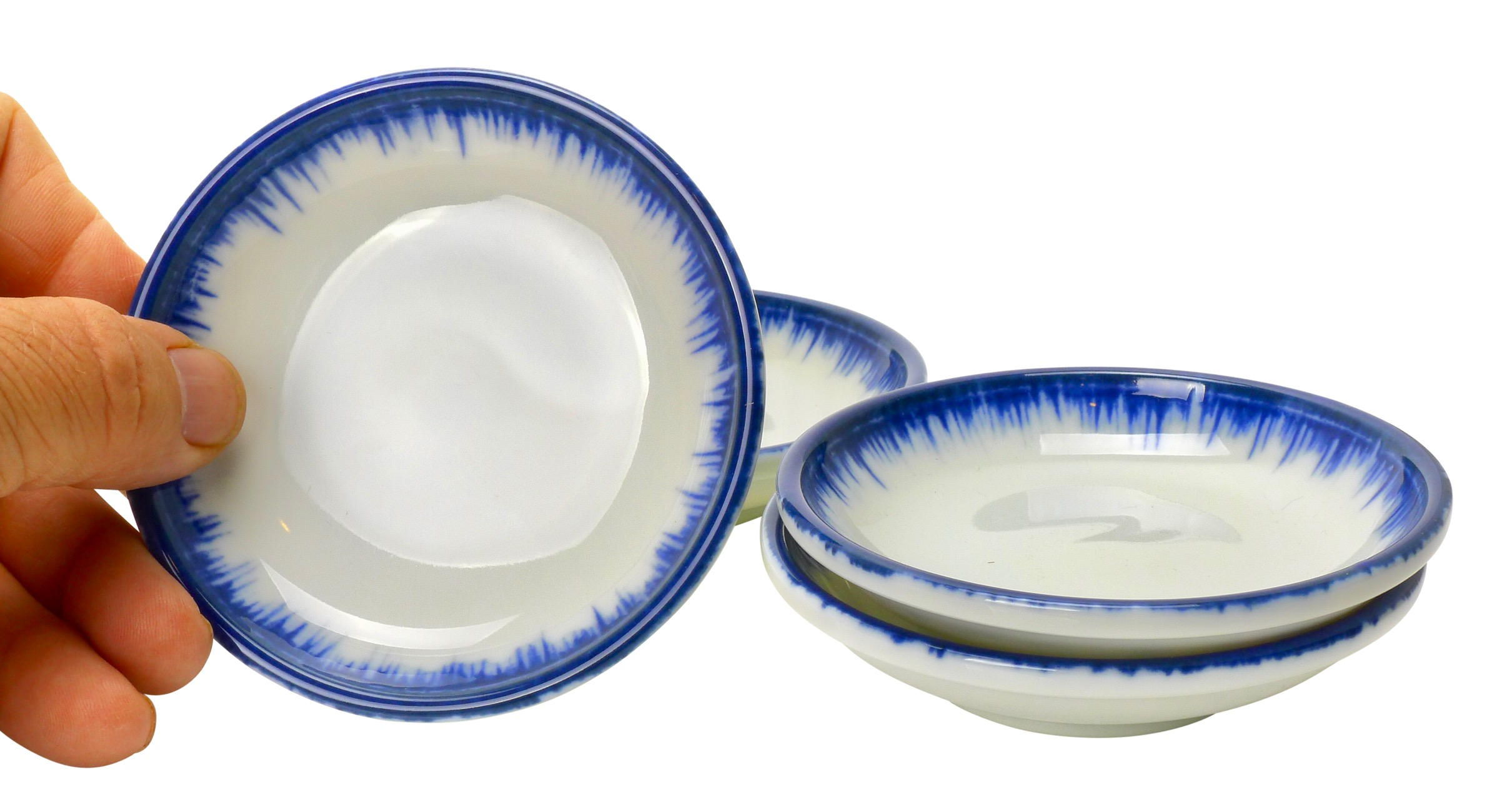 Image of Porcelain 3-Inch Appetizer Dishes, White with Blue Dip, Set Of 4