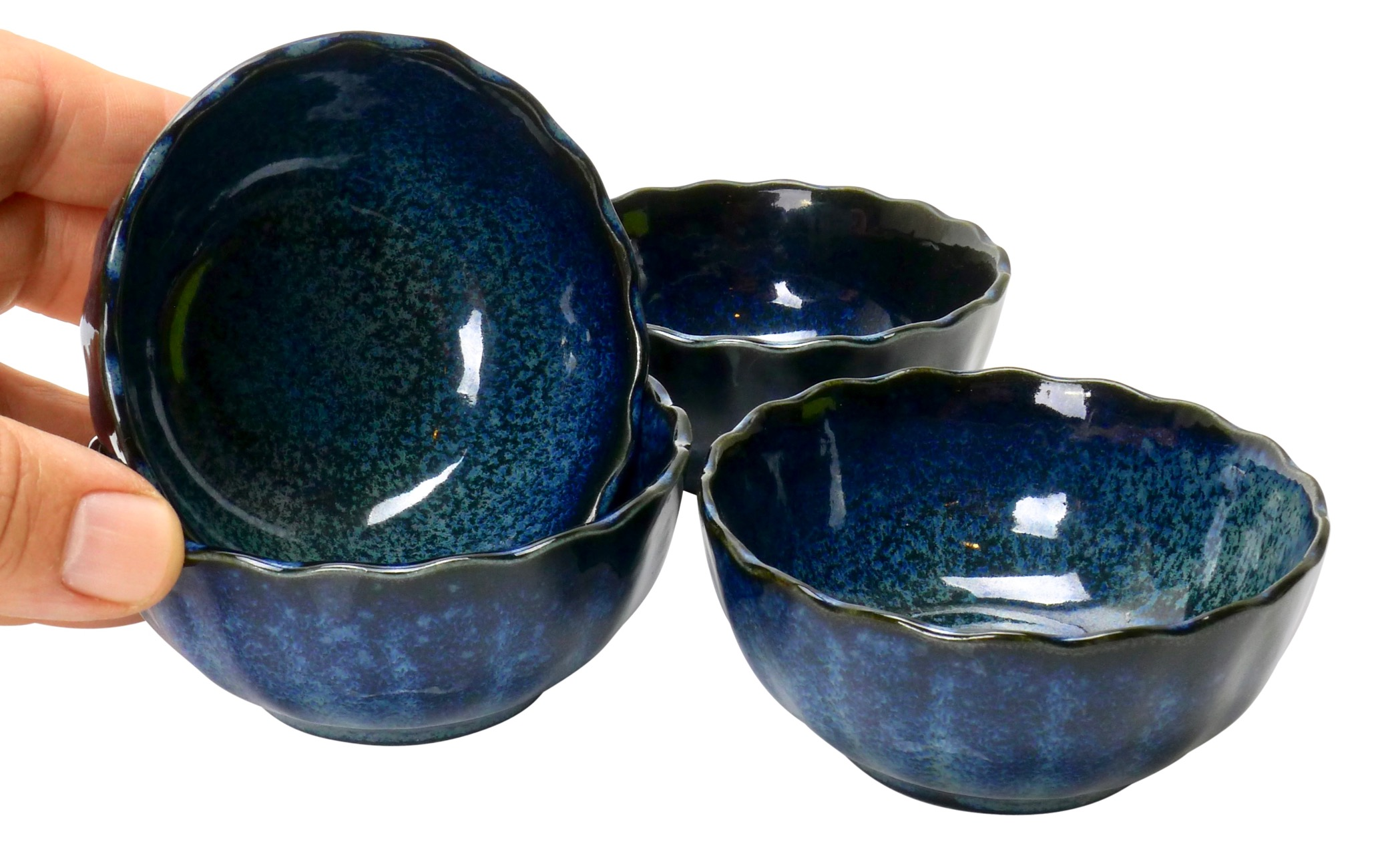 Image of Porcelain 3-Inch Appetizer Dishes, Deep Handdyed, Blue, Set Of Four