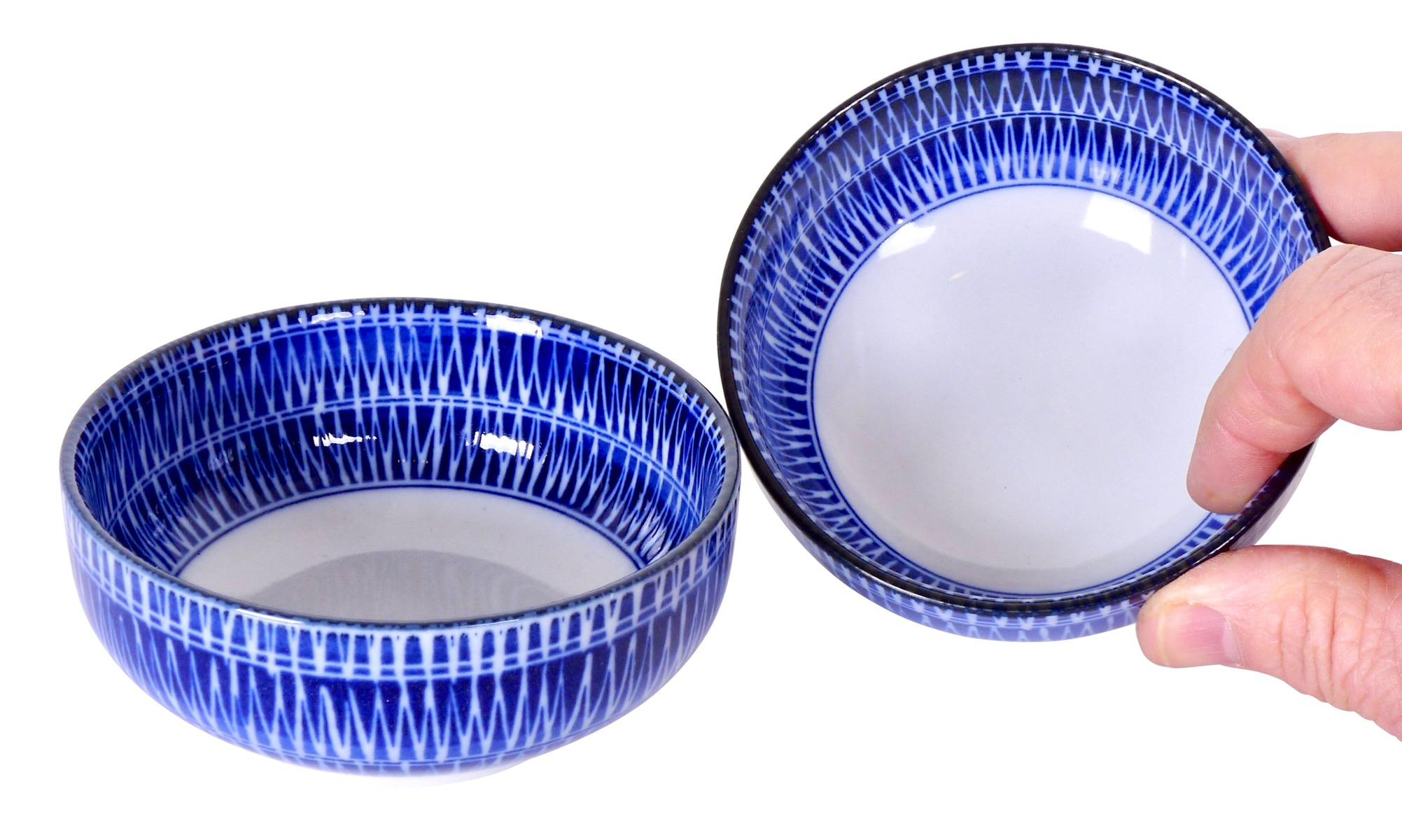 Image of Porcelain Bowls 4-Inch, Blue and White ZigZag Stripes.