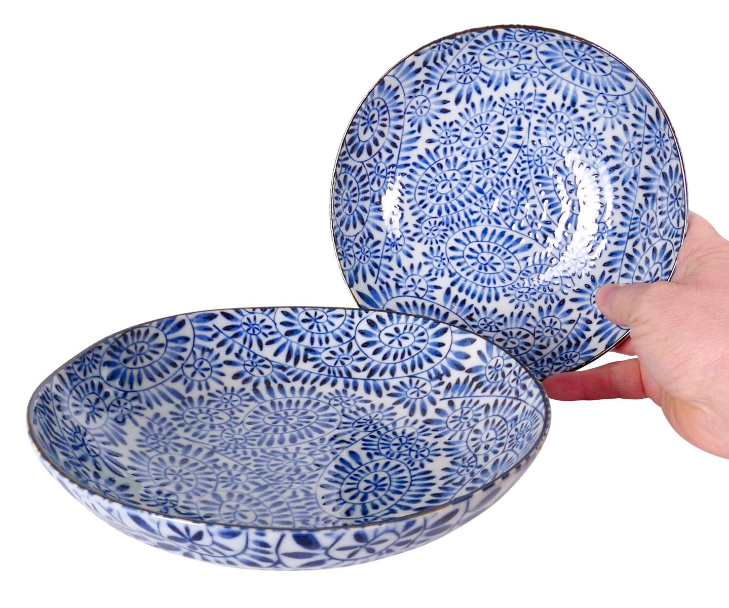 Image of Porcelain Shallow Serving or Pasta Bowl, Blue and White Karakusa 8.25
