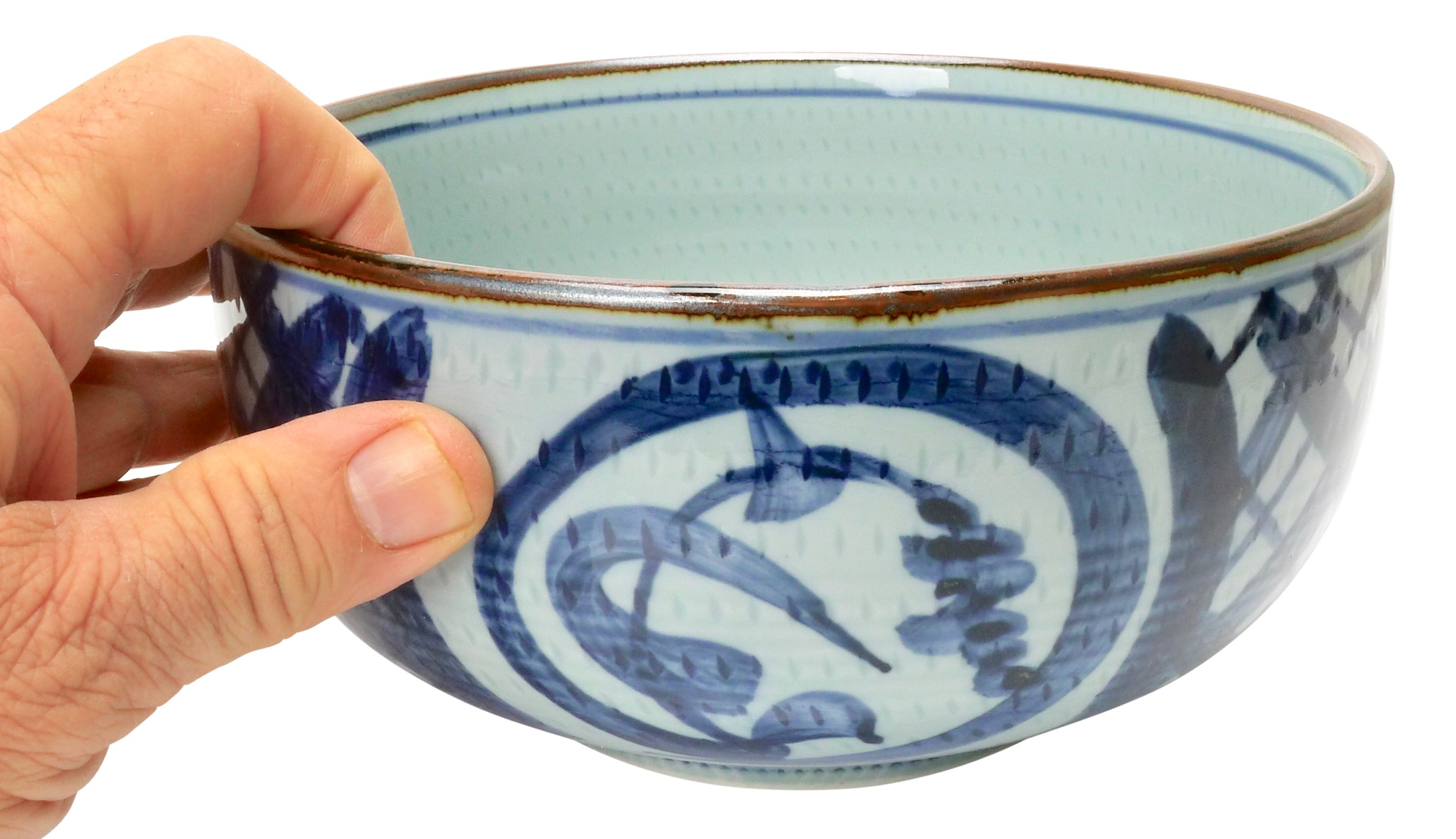 Image of Handmade Vintage White Porcelain Bowls with Bold Blue Brushstrokes