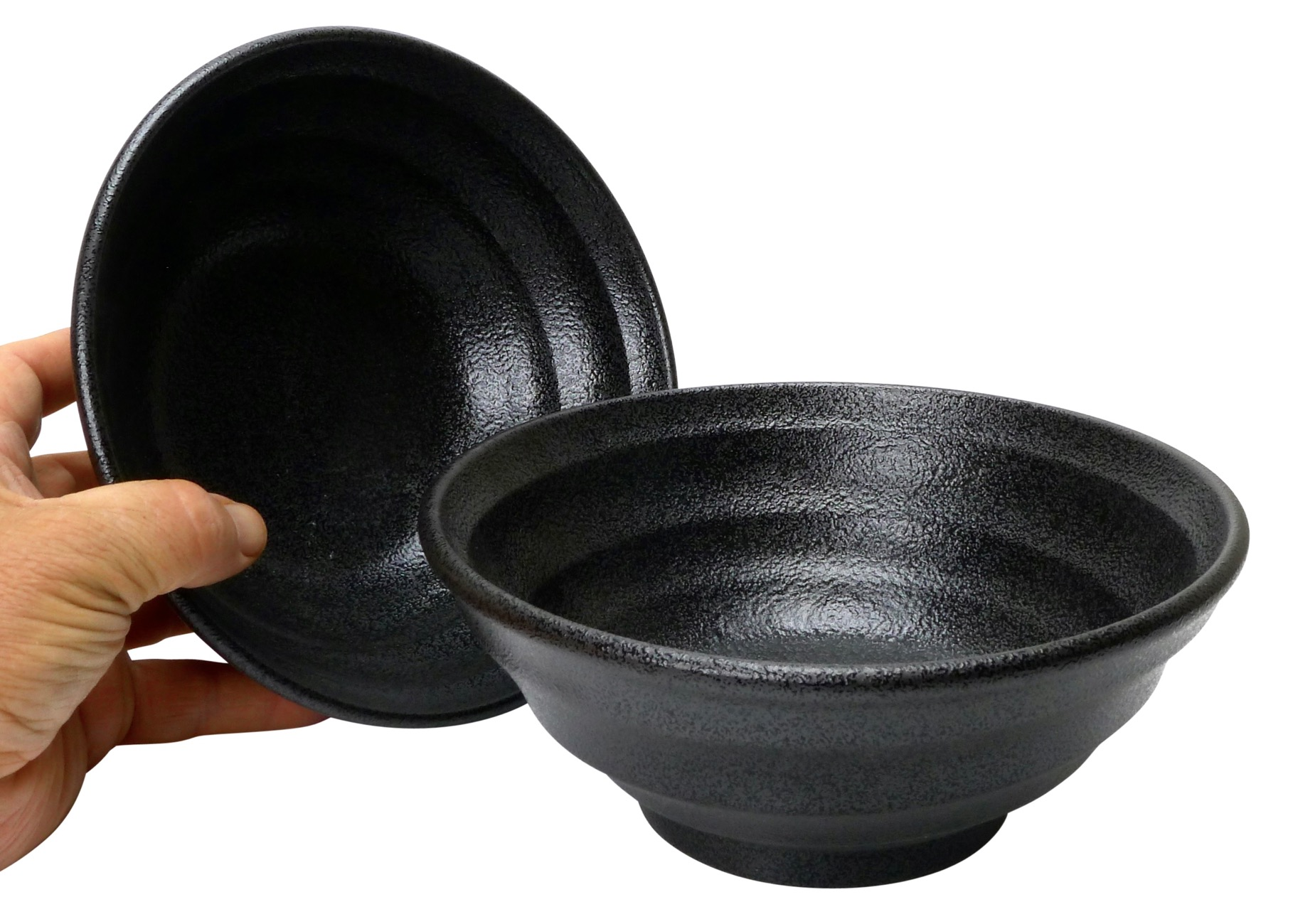 Image of Black Stoneware Serving Bowls, 7.75x3.5-Inch, Single