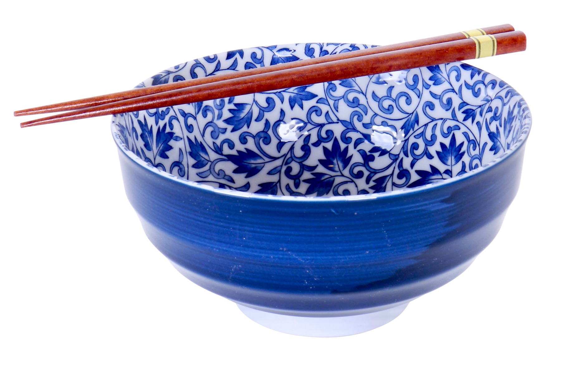 Image of Porcelain Bowls Blue with Ivy, 6.75 x 3.25-Inch