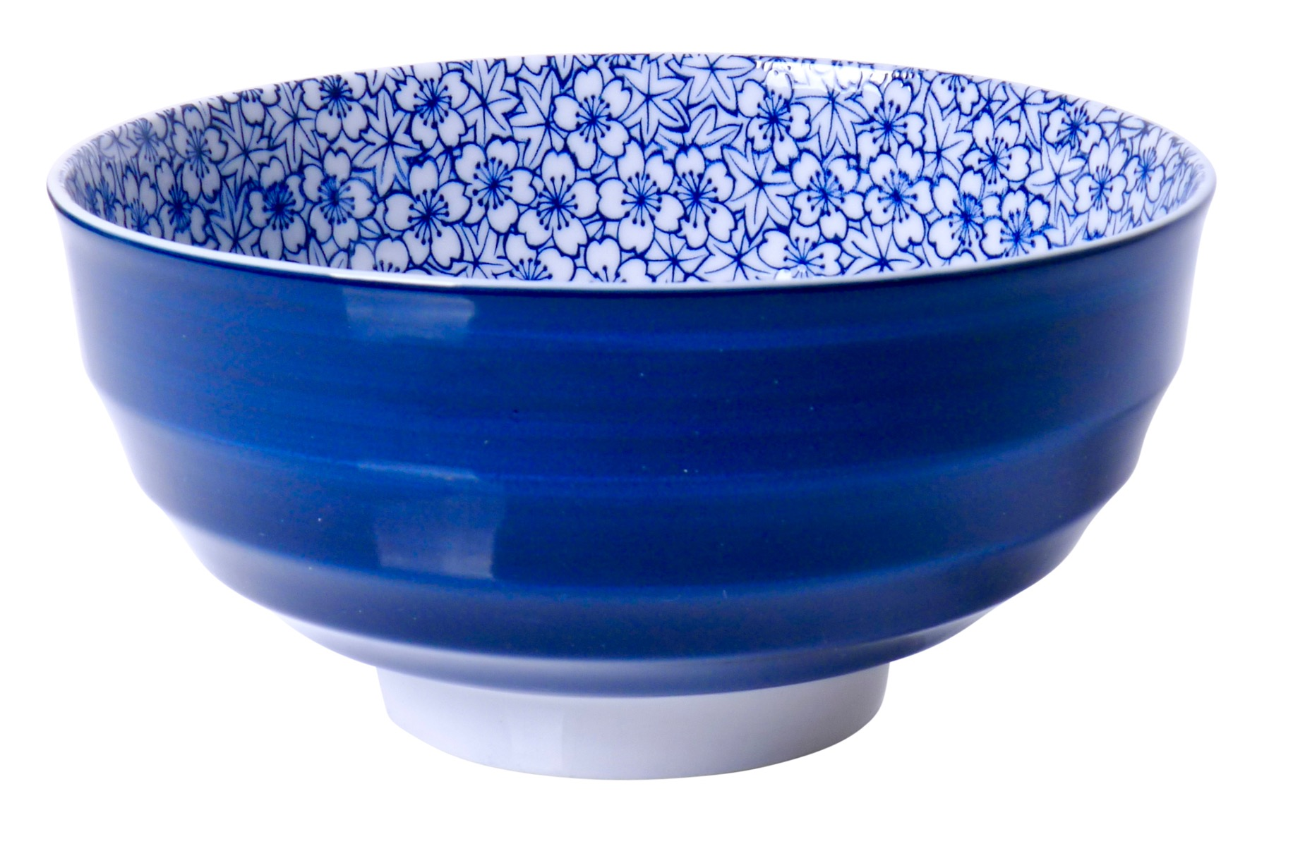 Image of Porcelain Bowls Blue with Floral, 6.75 x 3.25-Inch