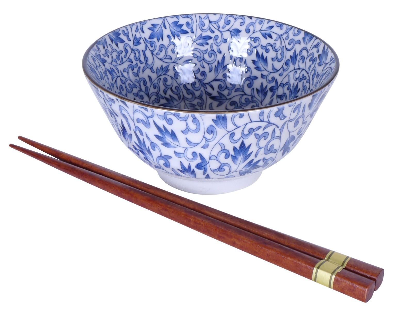 Image of Porcelain Bowls, Floral Blue, 4.75-Inch