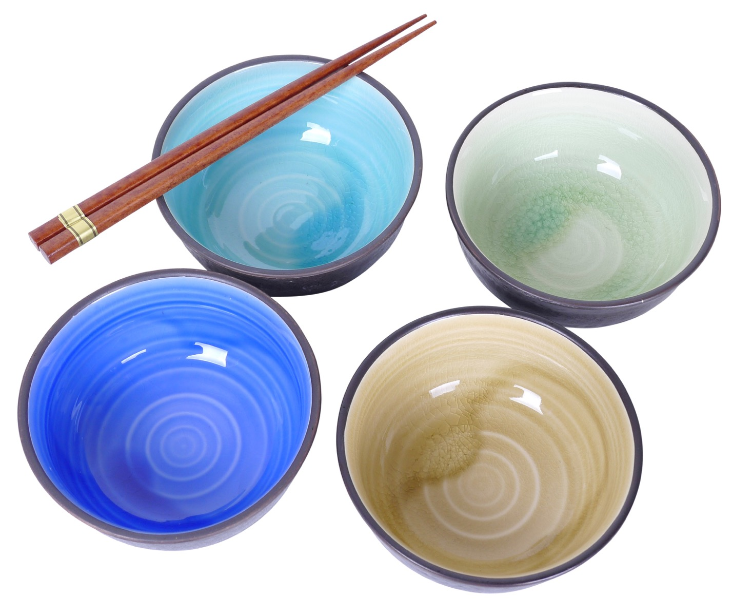 Image of Stoneware Bowls, Set Of Four Different Designs,  6.5x3.5-Inch