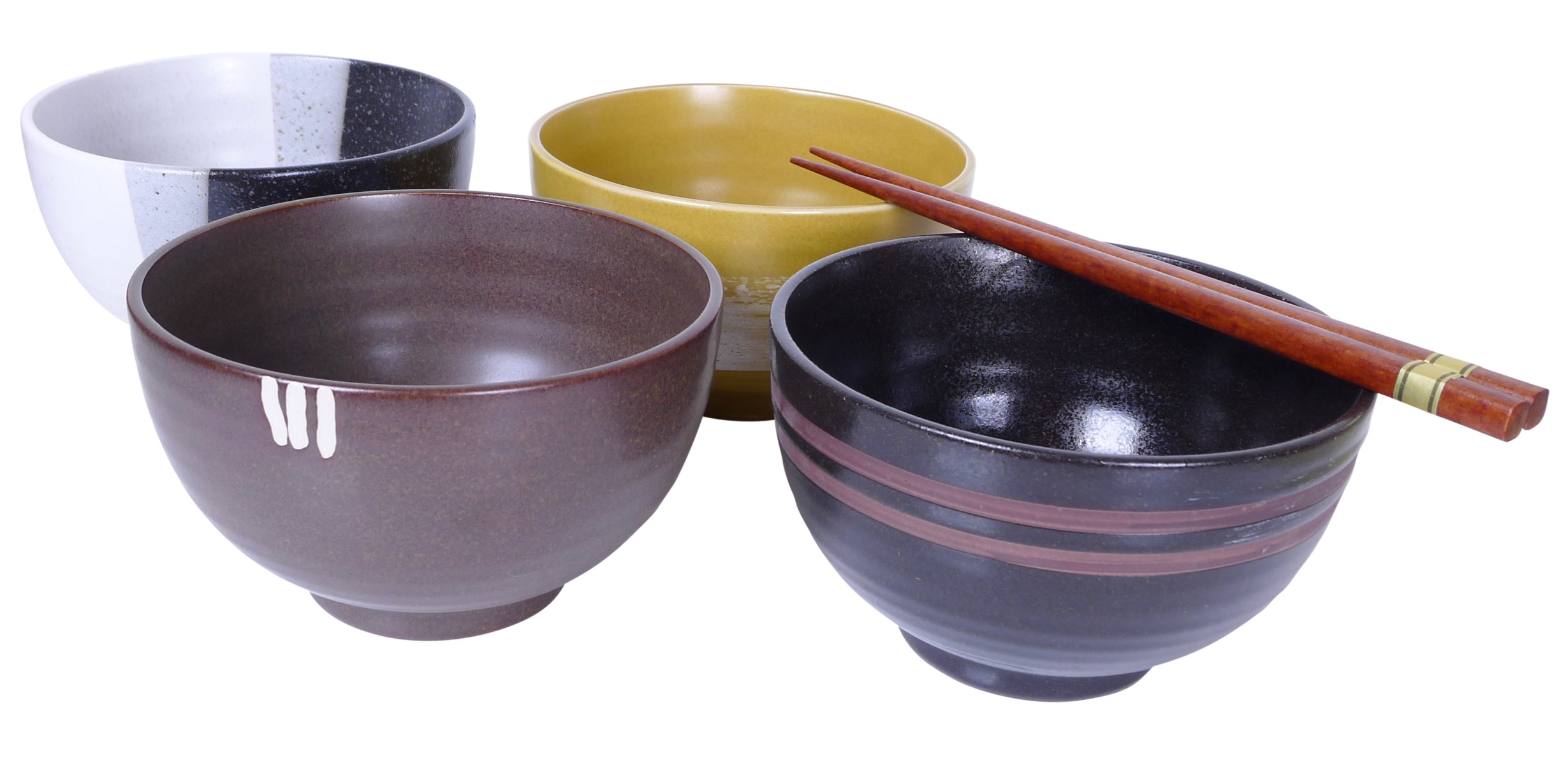 Image of Stoneware Bowls, Set Of Four Different Designs,  5x2.25-Inch