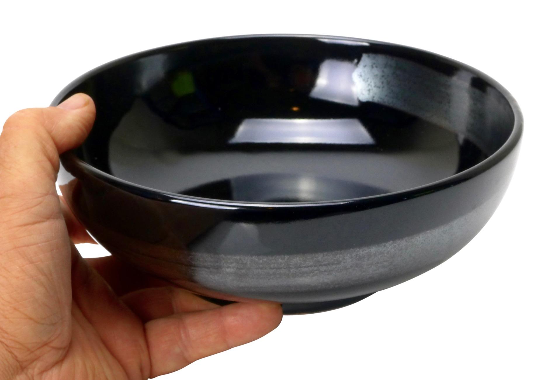 Image of Glossy Black Porcelain Serving Bowls 8-Inch