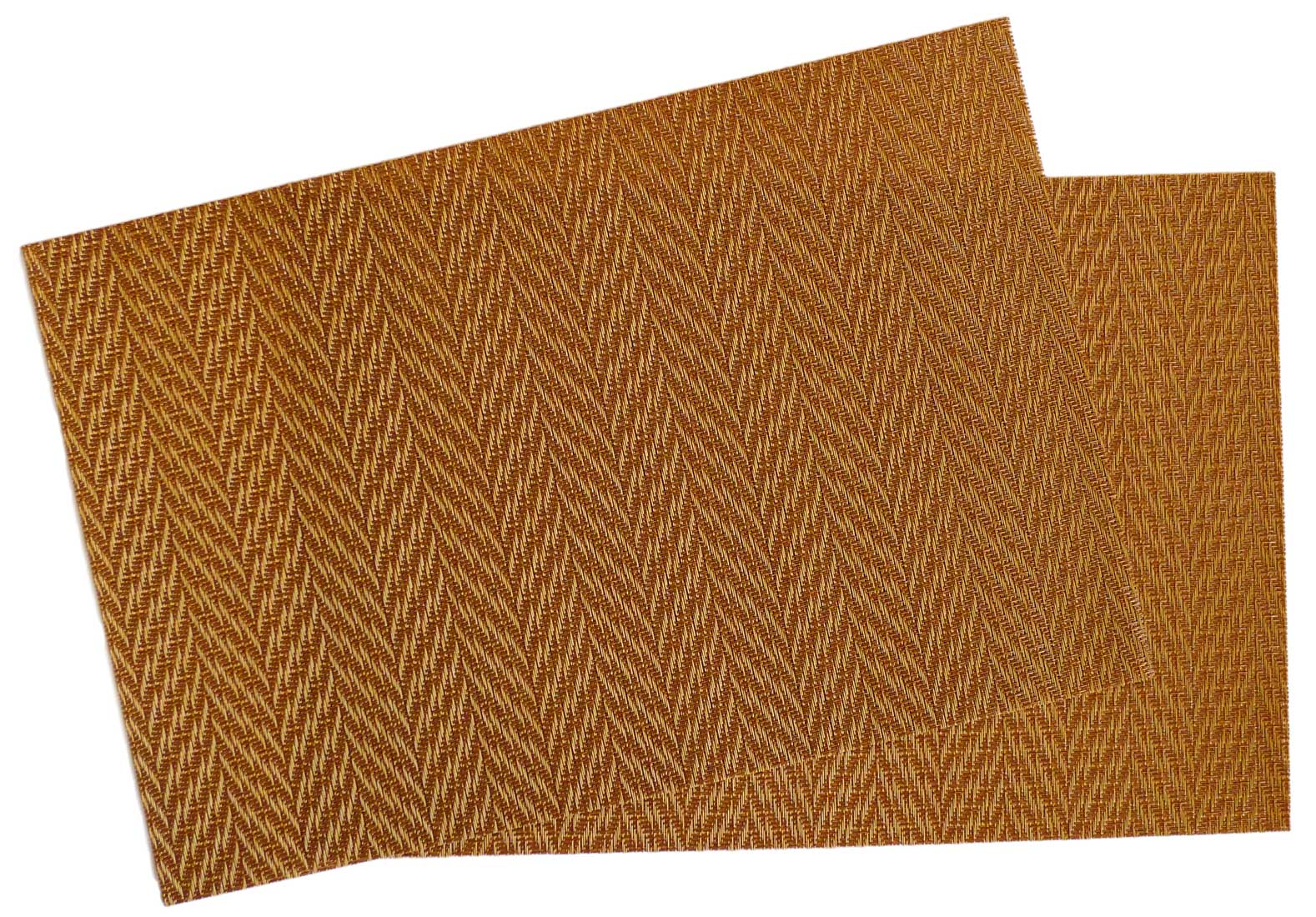 Image of Woven Vinyl Mat Gold Herringbone MAT25