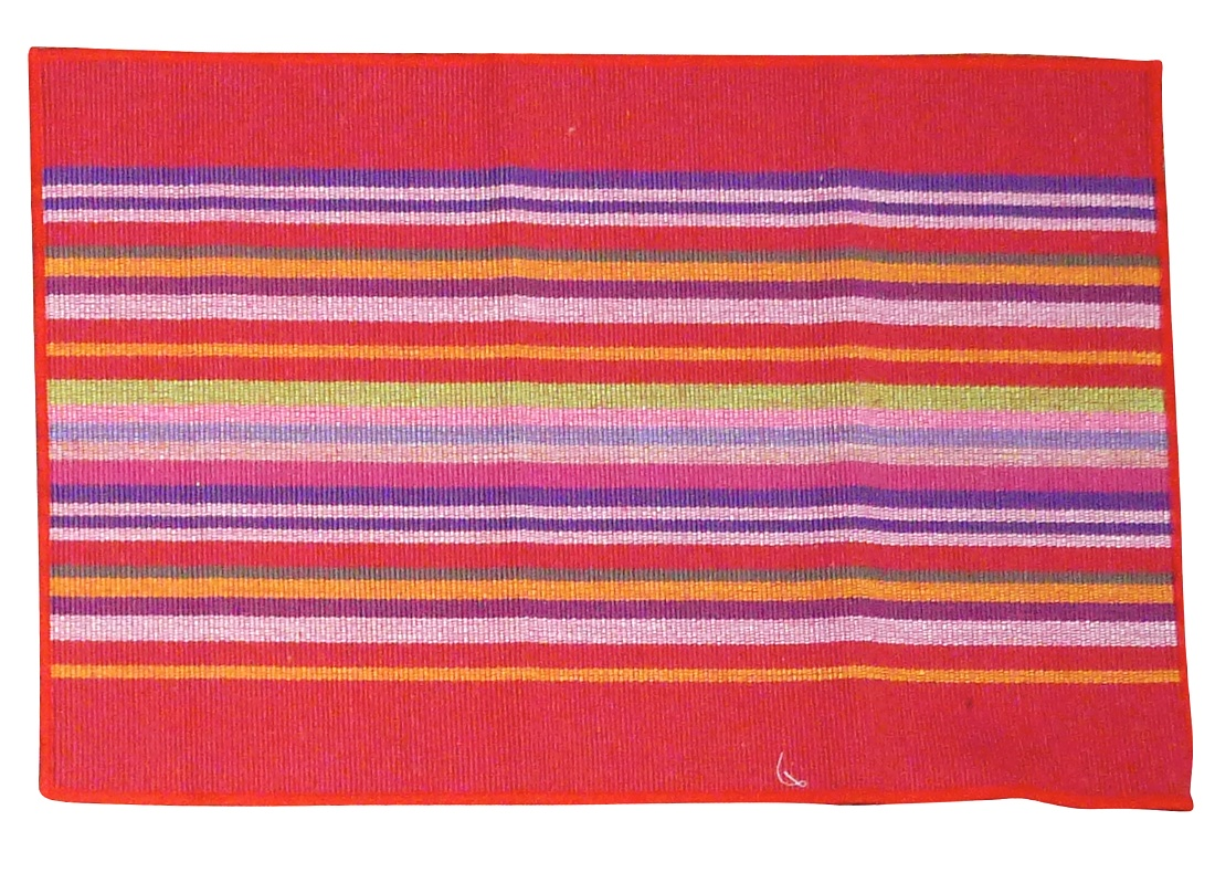 Image of Squish Woven Cotton Placemat - Red Stripe Caribbean - Pack of 4