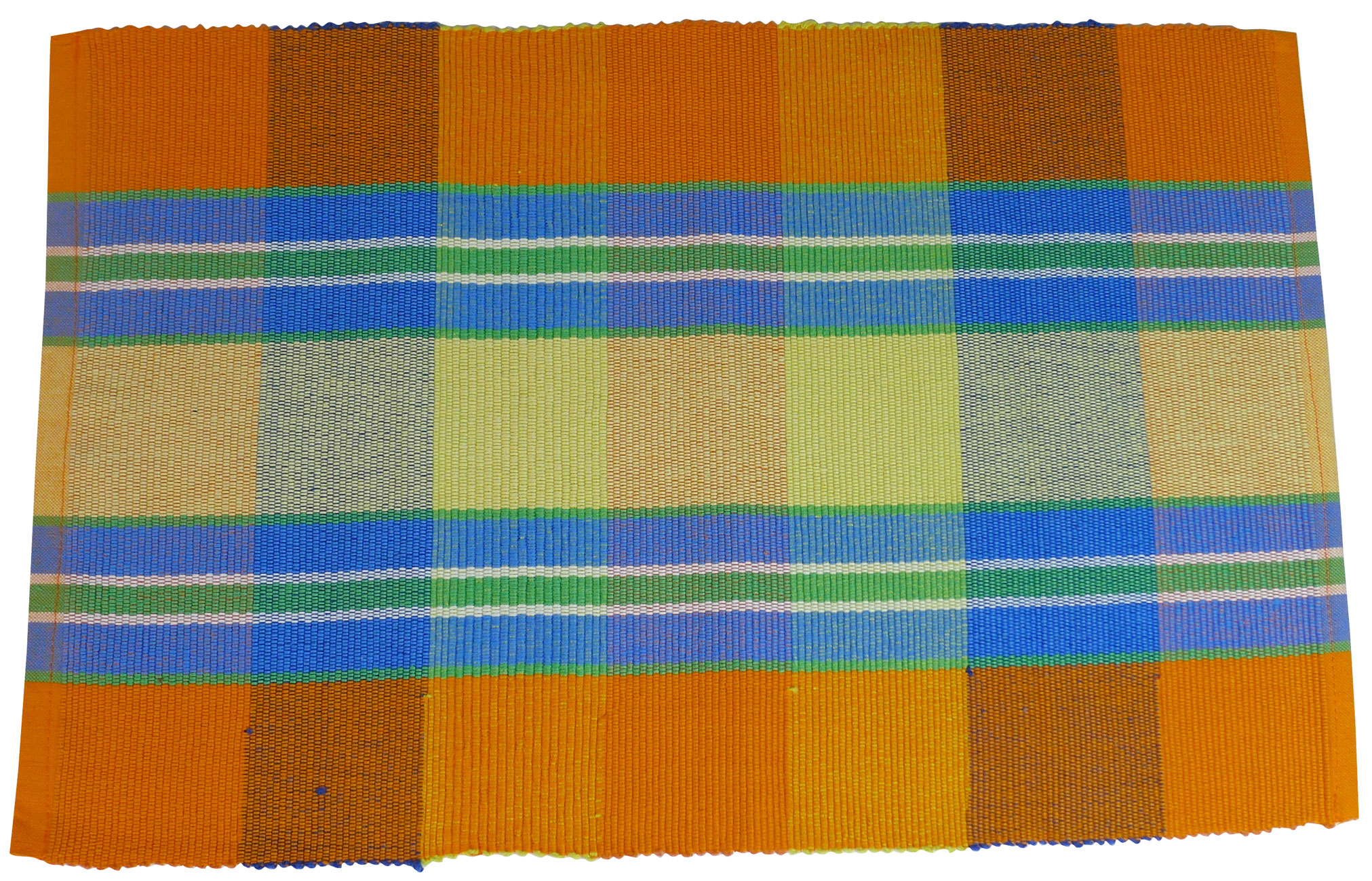 Image of Spiceberry Cotton Placemats - Bright Orange Plaid Design - Set of 4