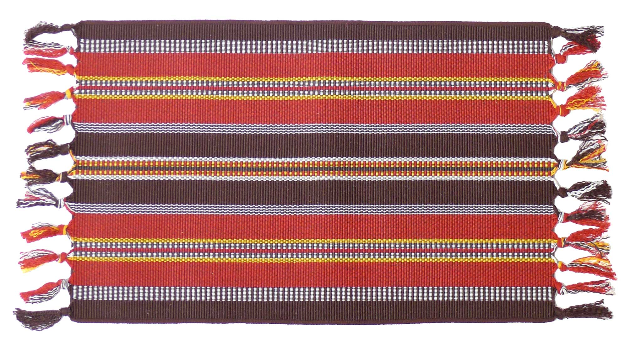 Image of Squish Woven Cotton Placemat - Red and Brown - Pack of 4