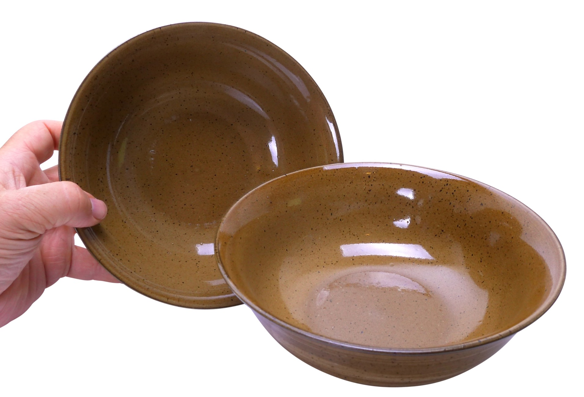 Image of Stoneware Bowls, Brown, 7.75 x 3-Inch, Set Of Two