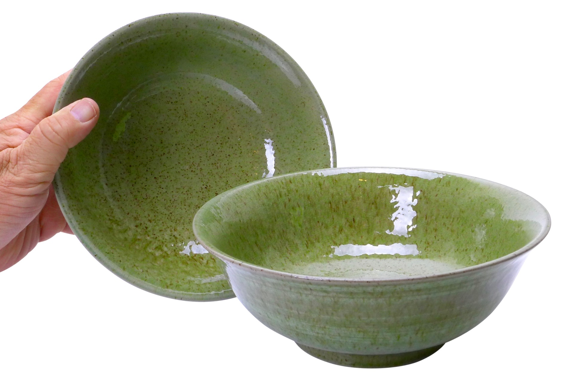 Image of Stoneware Bowls, Green, 7.75 x 3-Inch, Set Of Two