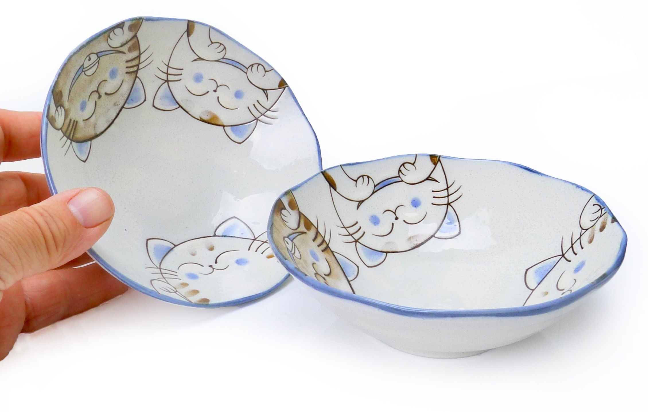 Image of Porcelain Bowls with Cute Cat Design 6.75-Inch, Set Of Two