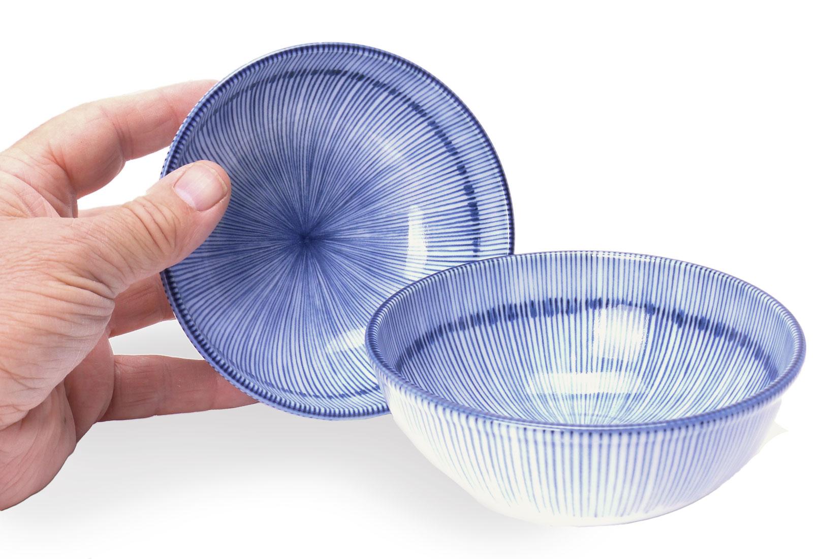 Image of Porcelain Bowls, Blue Tokusa Stripe, 5-1/2 Inch