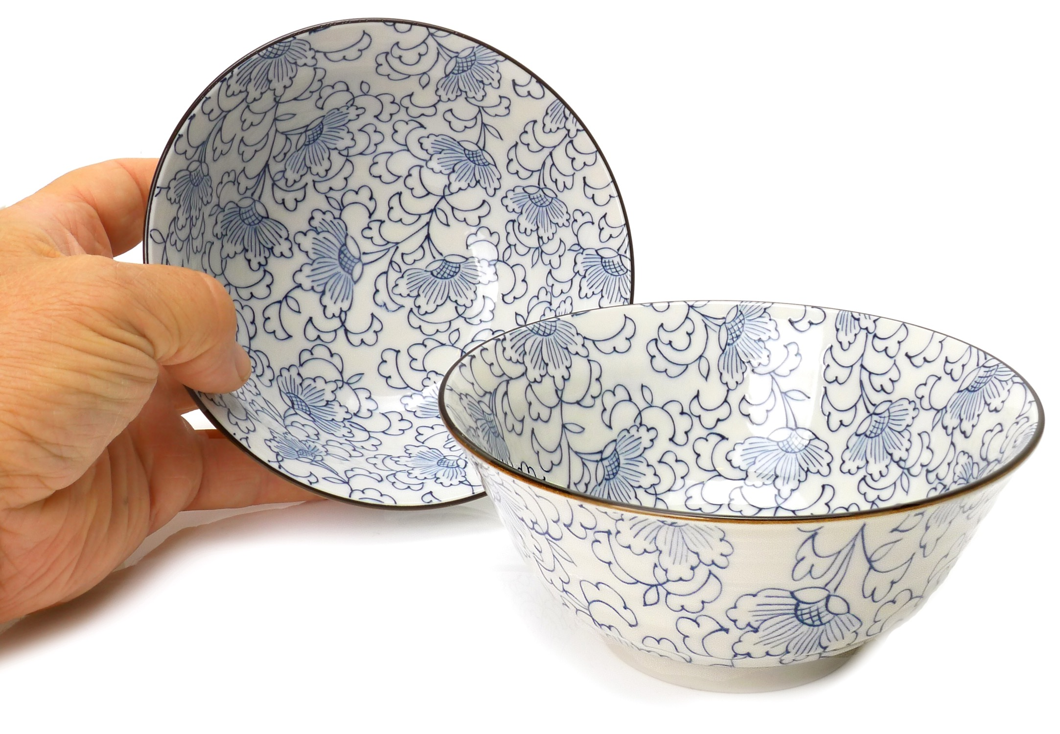 Image of Porcelain Bowls, Floral White, 4.75-Inch, Set Of Two