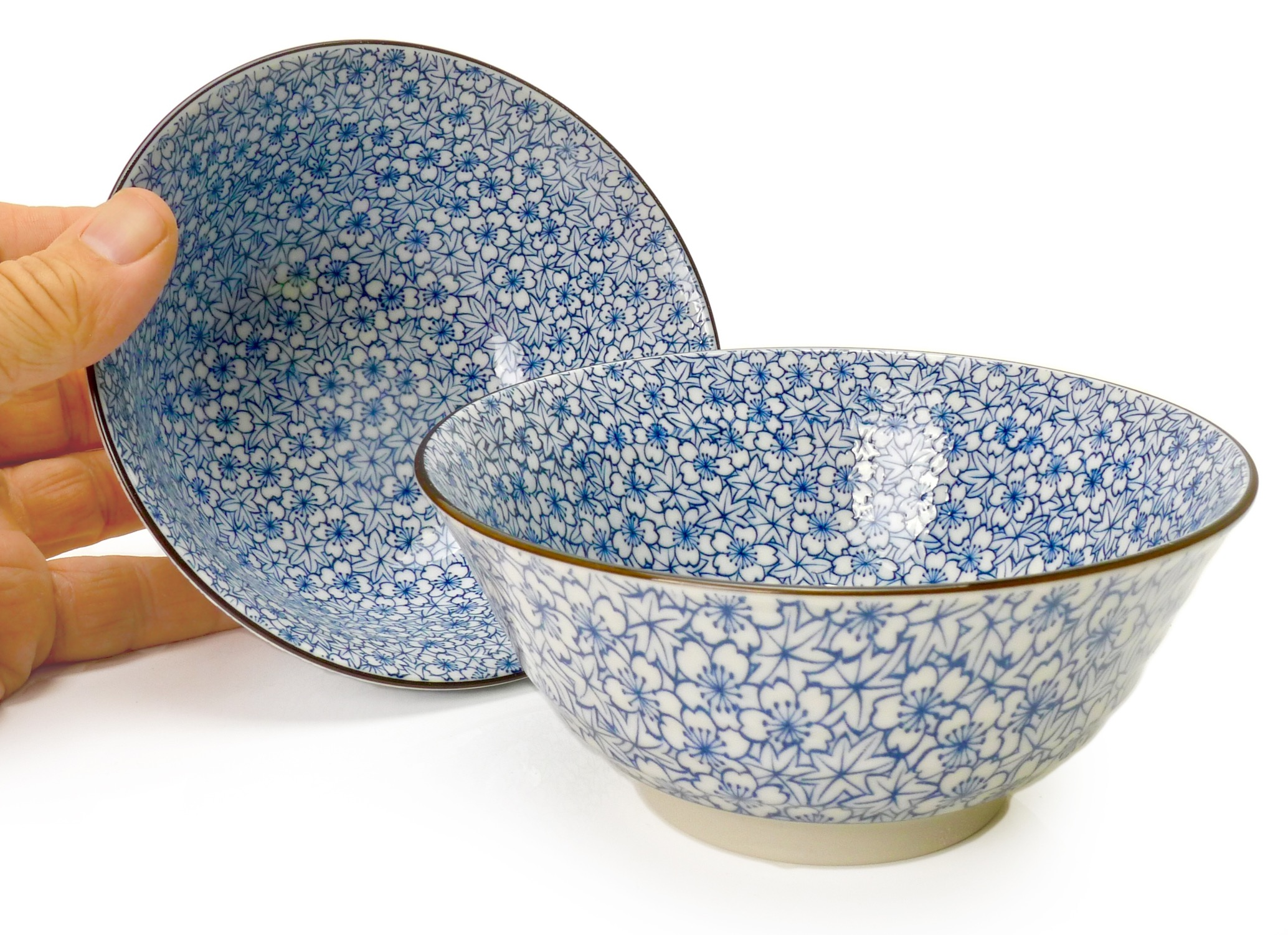 Image of Porcelain Bowls, Floral Blue, 4.75-Inch, Set Of Two