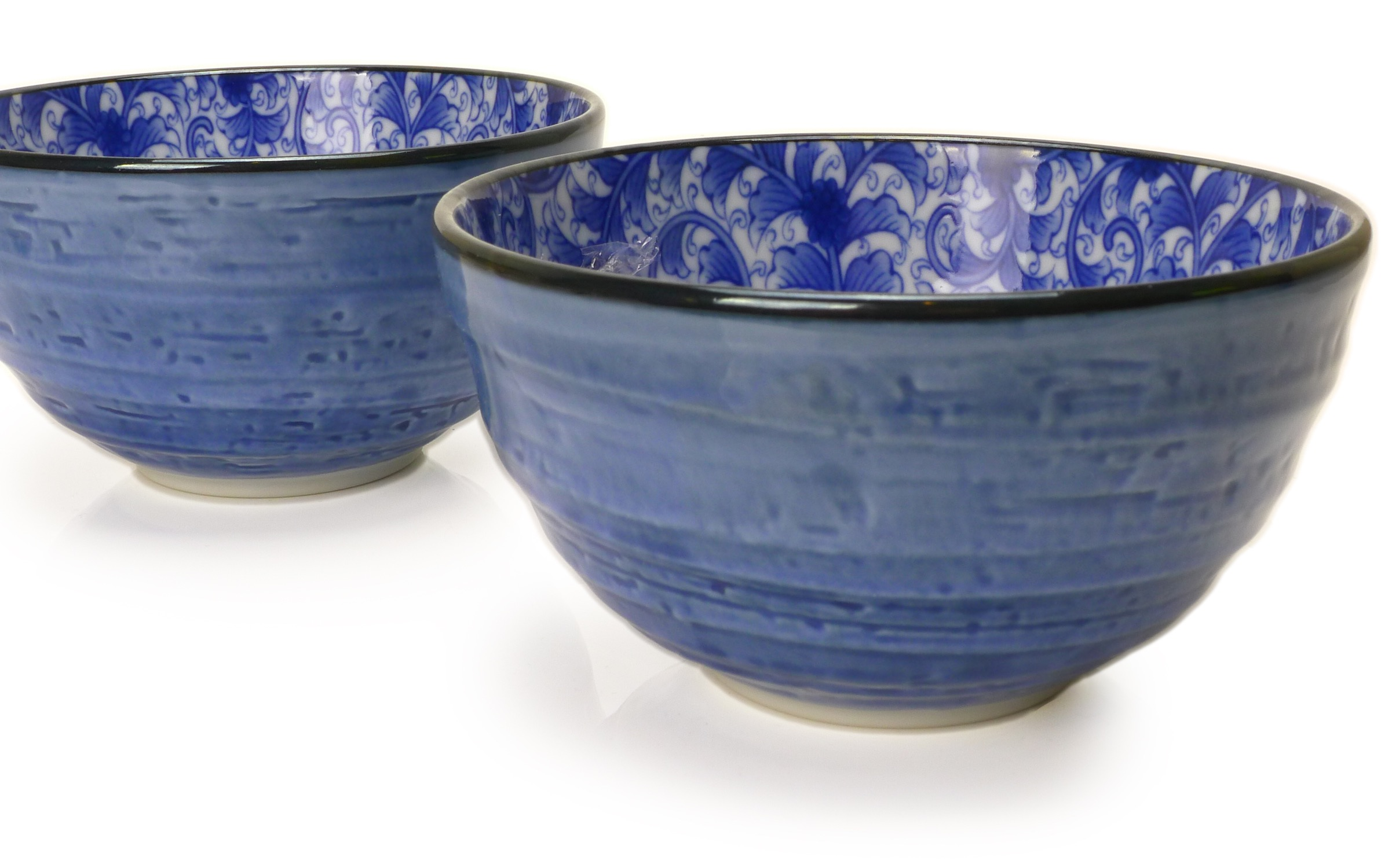 Image of Porcelain Bowls 5.5-Inch Blue with Blue Nochigo Design, Set Of Two
