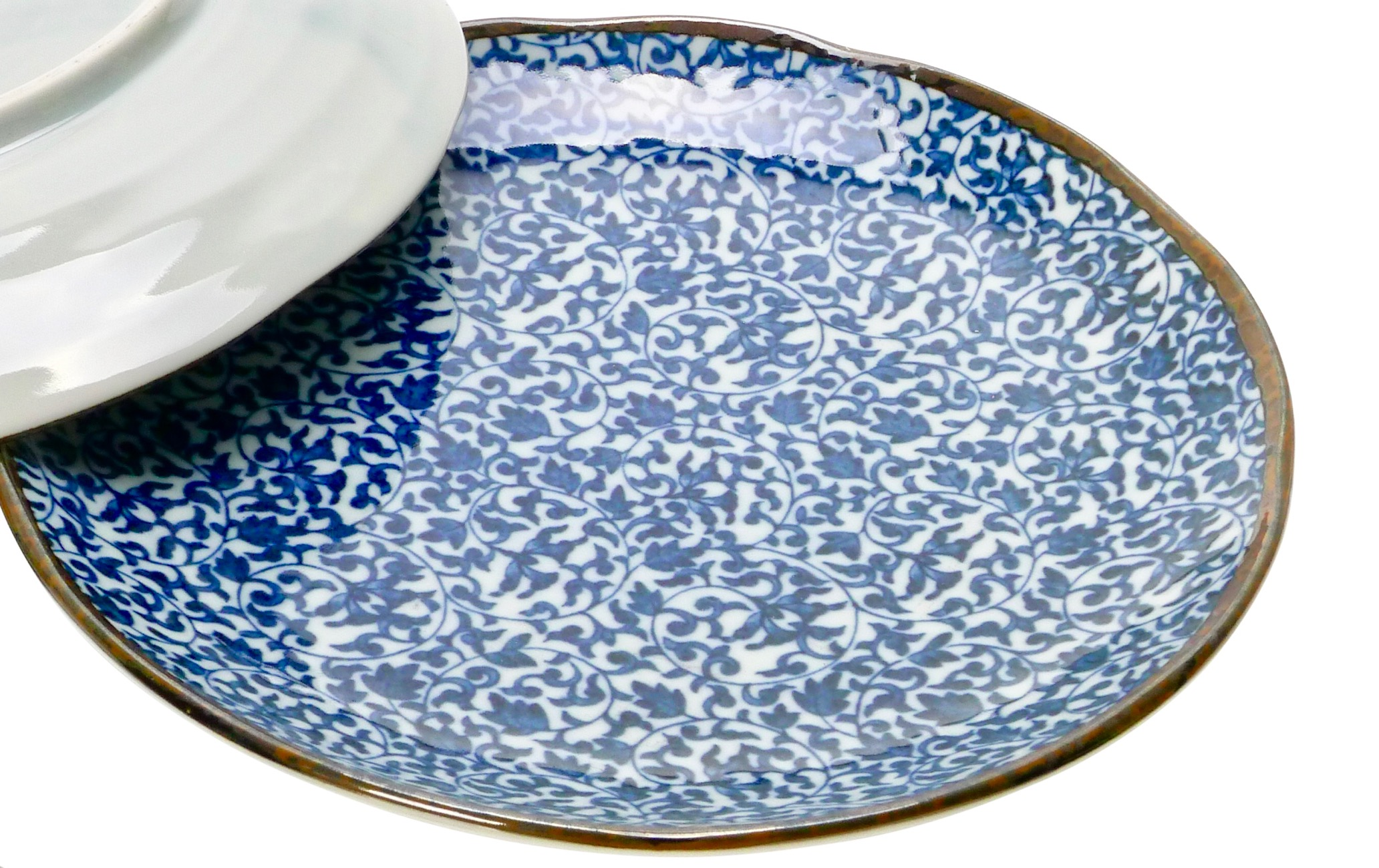 Image of Porcelain Plate, Blue and White Ivy, 8.75-Inches, Set Of Two