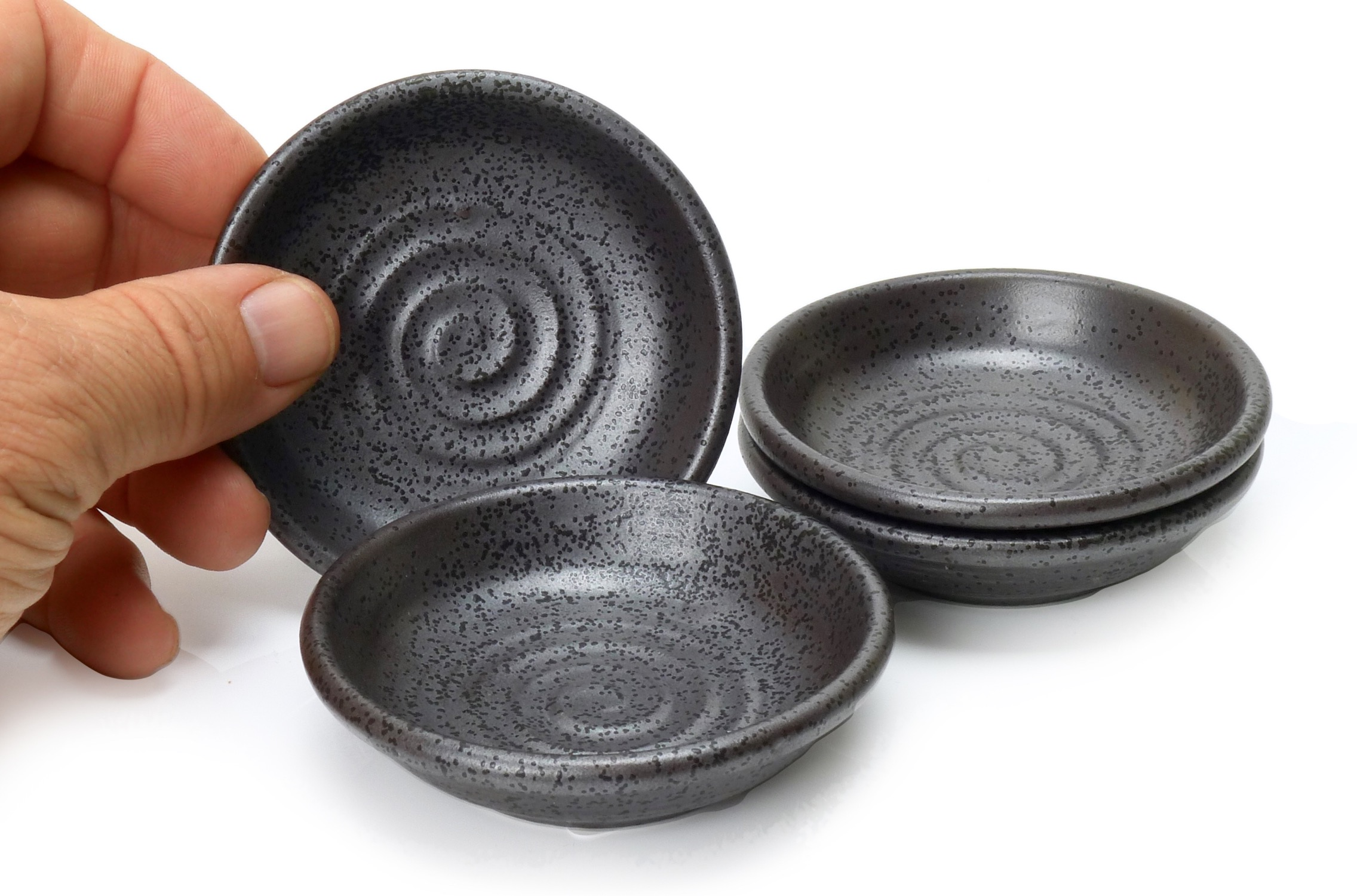 Image of Black Stoneware Appetizer Dish, with Spiral Design, 3.5-Inch, Set Of F