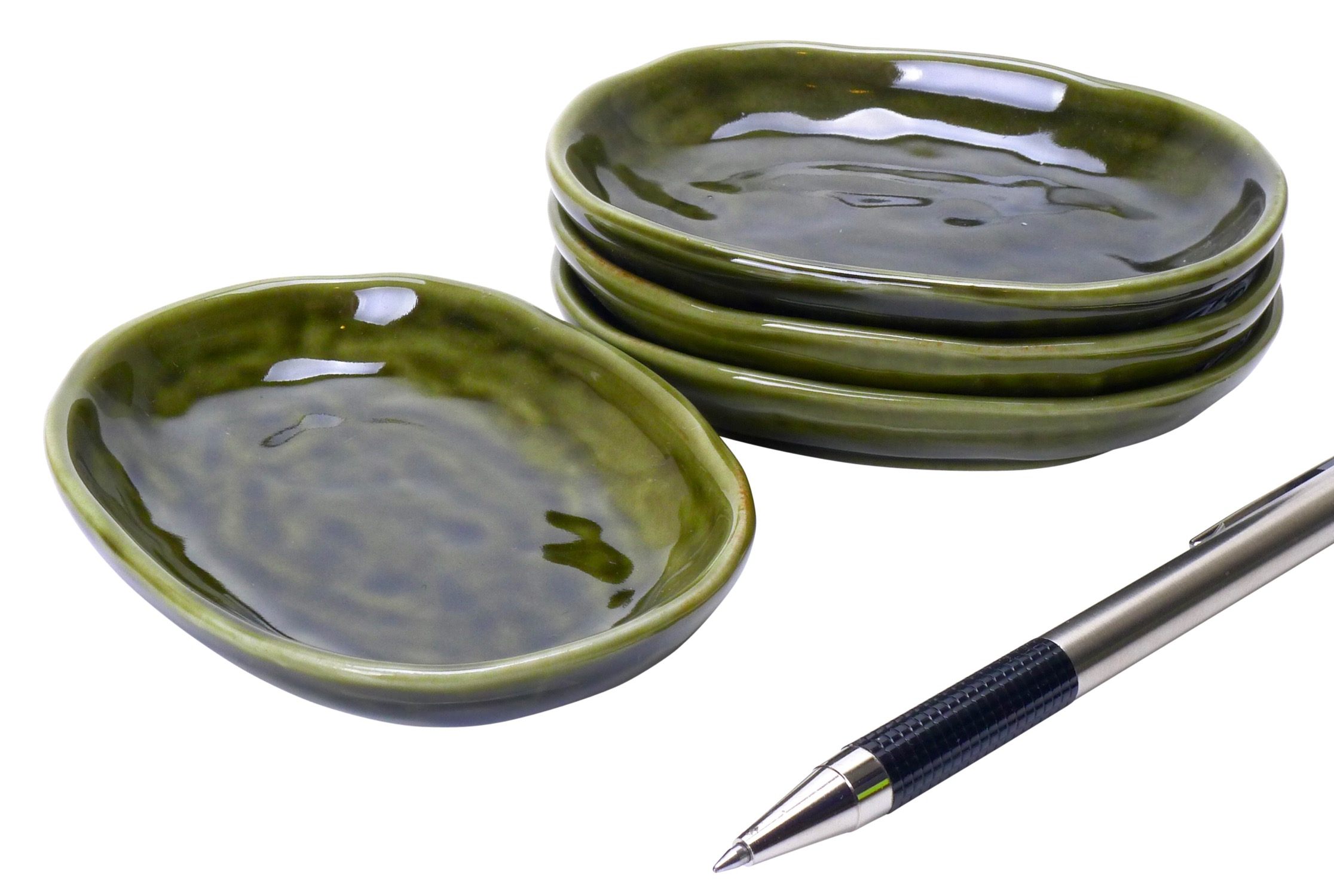 Image of Porcelain Appetizer Dish, Dark Handglazed Green,  3.5-Inch, Set Of Fou