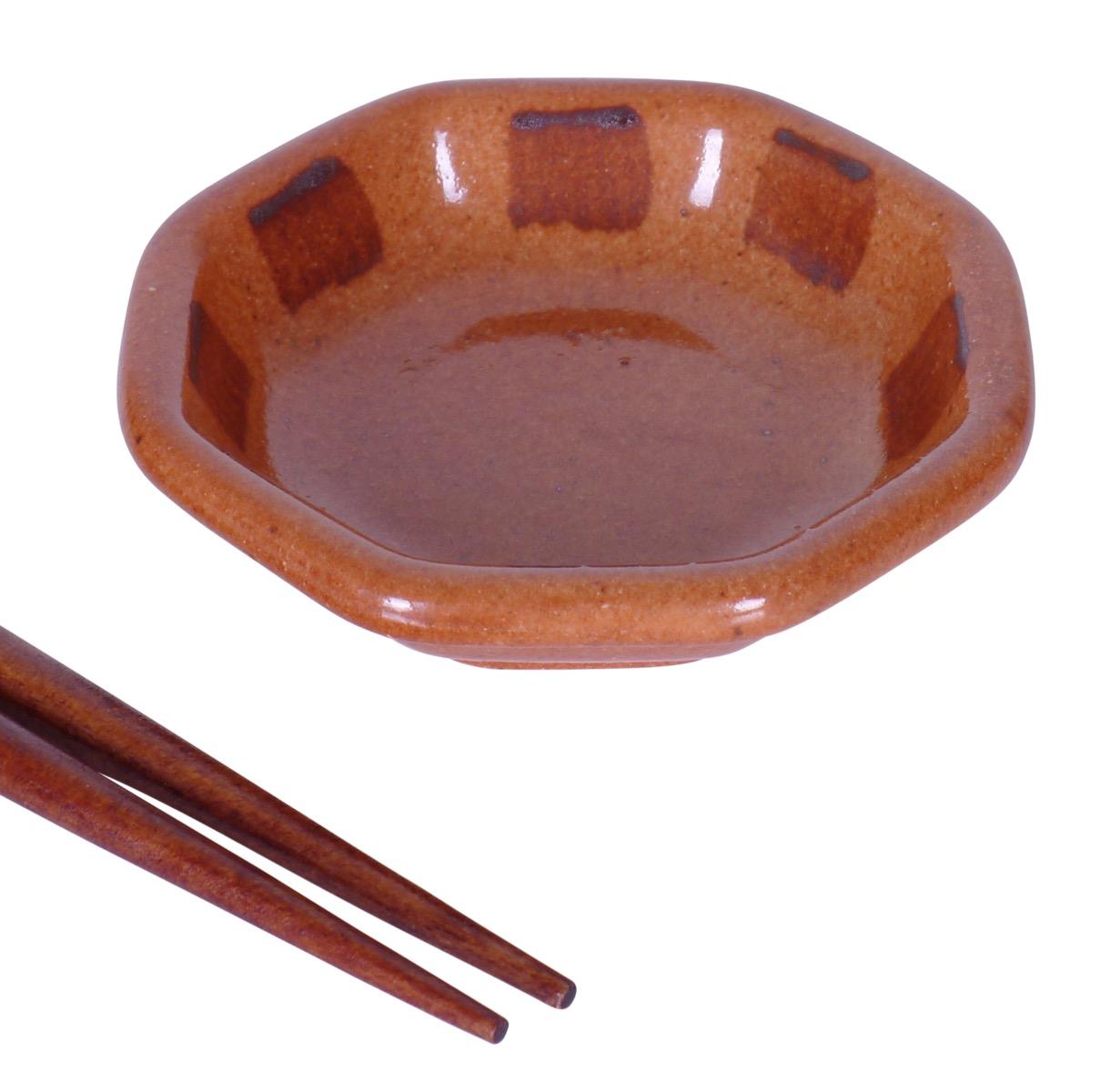 Image of Porcelain Hexagon Appetizer Dish, Handglazed Orange  3.5-Inch