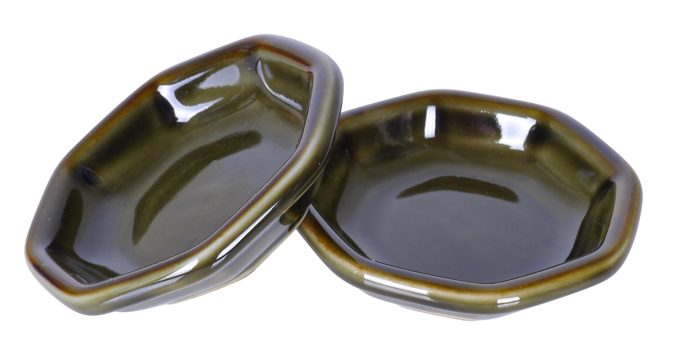 Image of Porcelain Hexagon Appetizer Dish, Green Hexagon  3.5-Inch