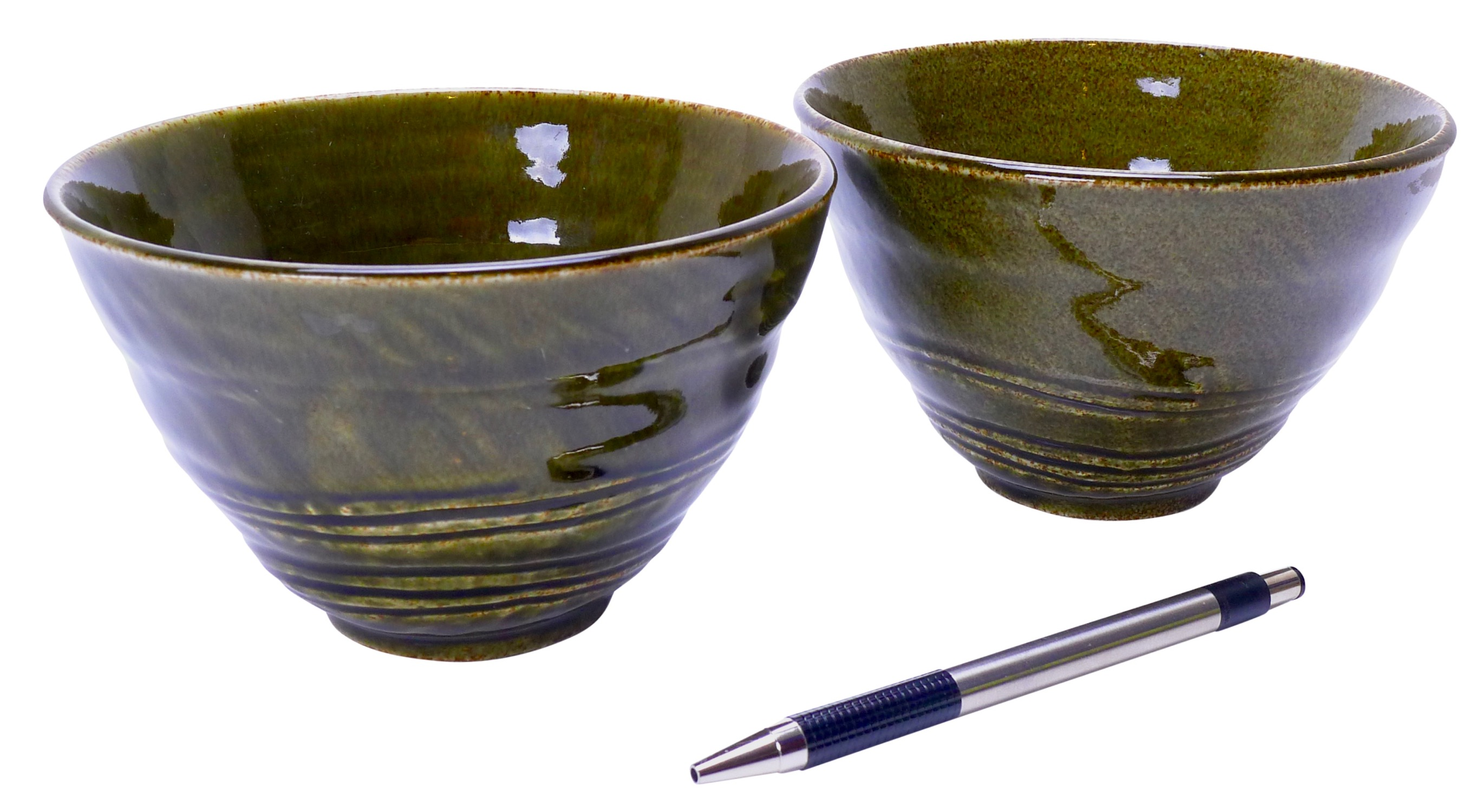 Image of Green Stoneware Bowl, 5-Inch, Set Of Four