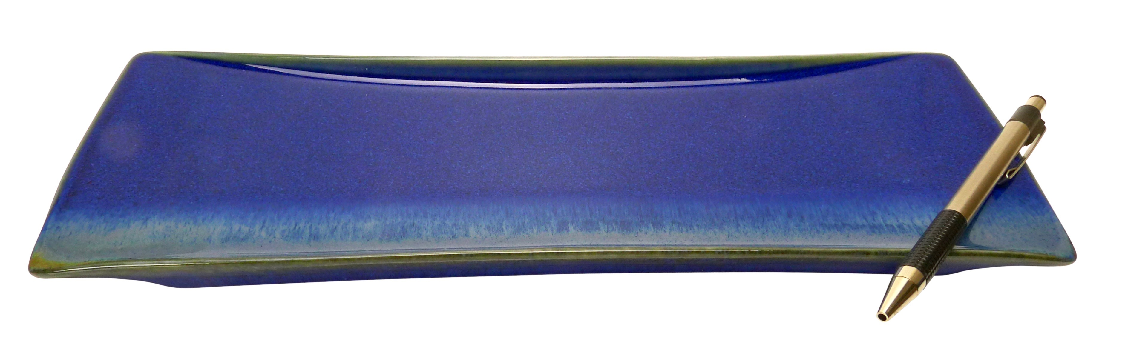 Image of Handmade Porcelain Rectangle plate 11x3-Inch, Deep Cobalt Blue