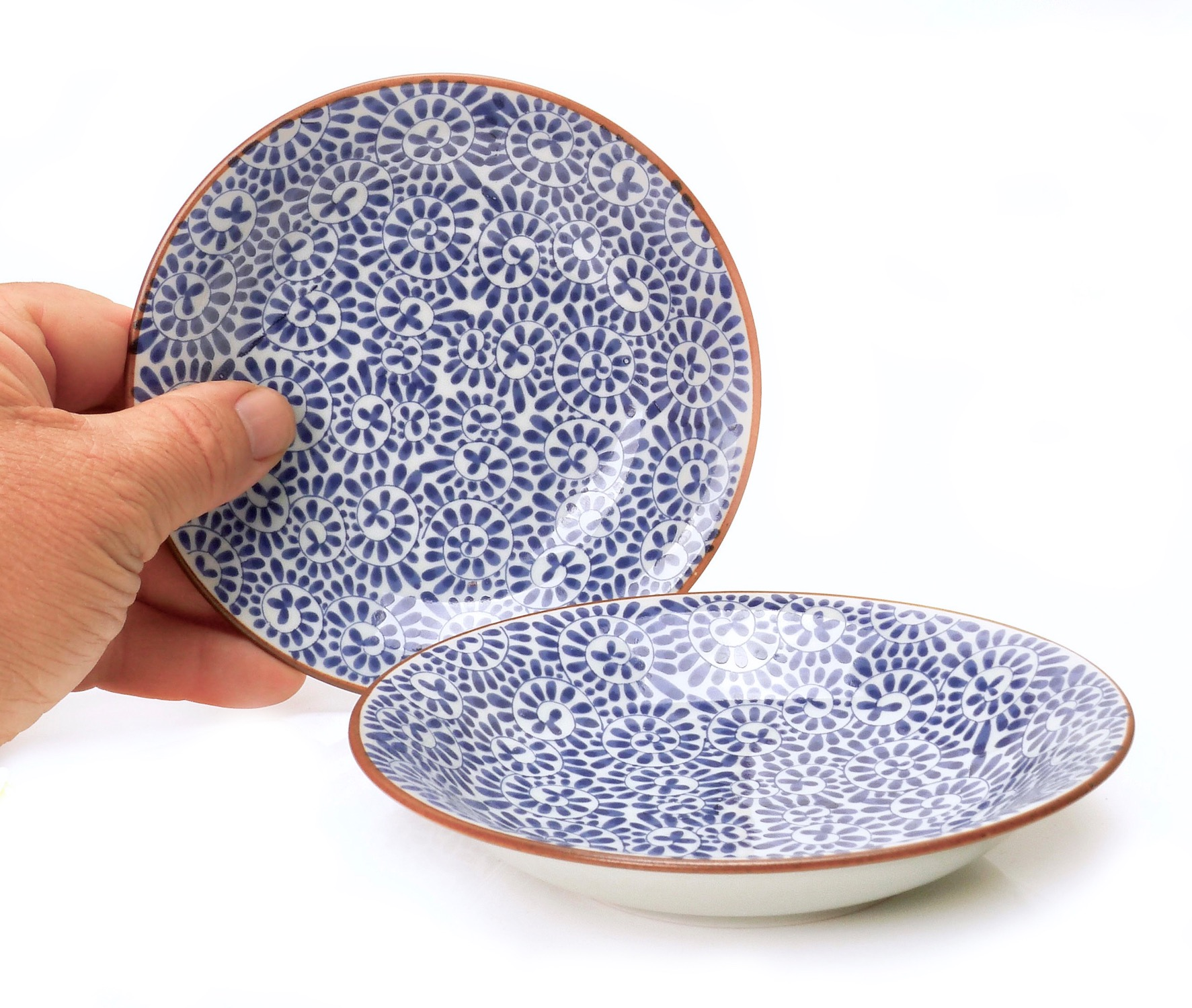Image of Porcelain White and Indigo Patterned Appetizer Dish, 4-Inch, Set Of 4