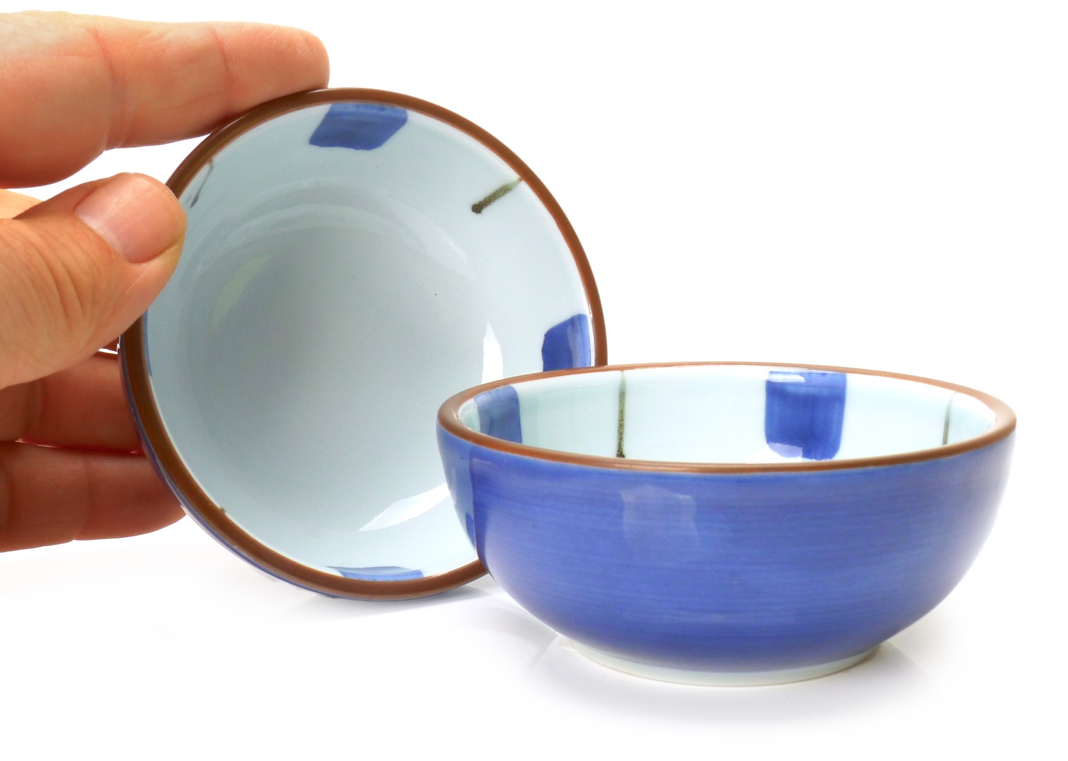 Image of Porcelain Dipping Dish, White with Blue Marks, 3-Inch, Set Of Four